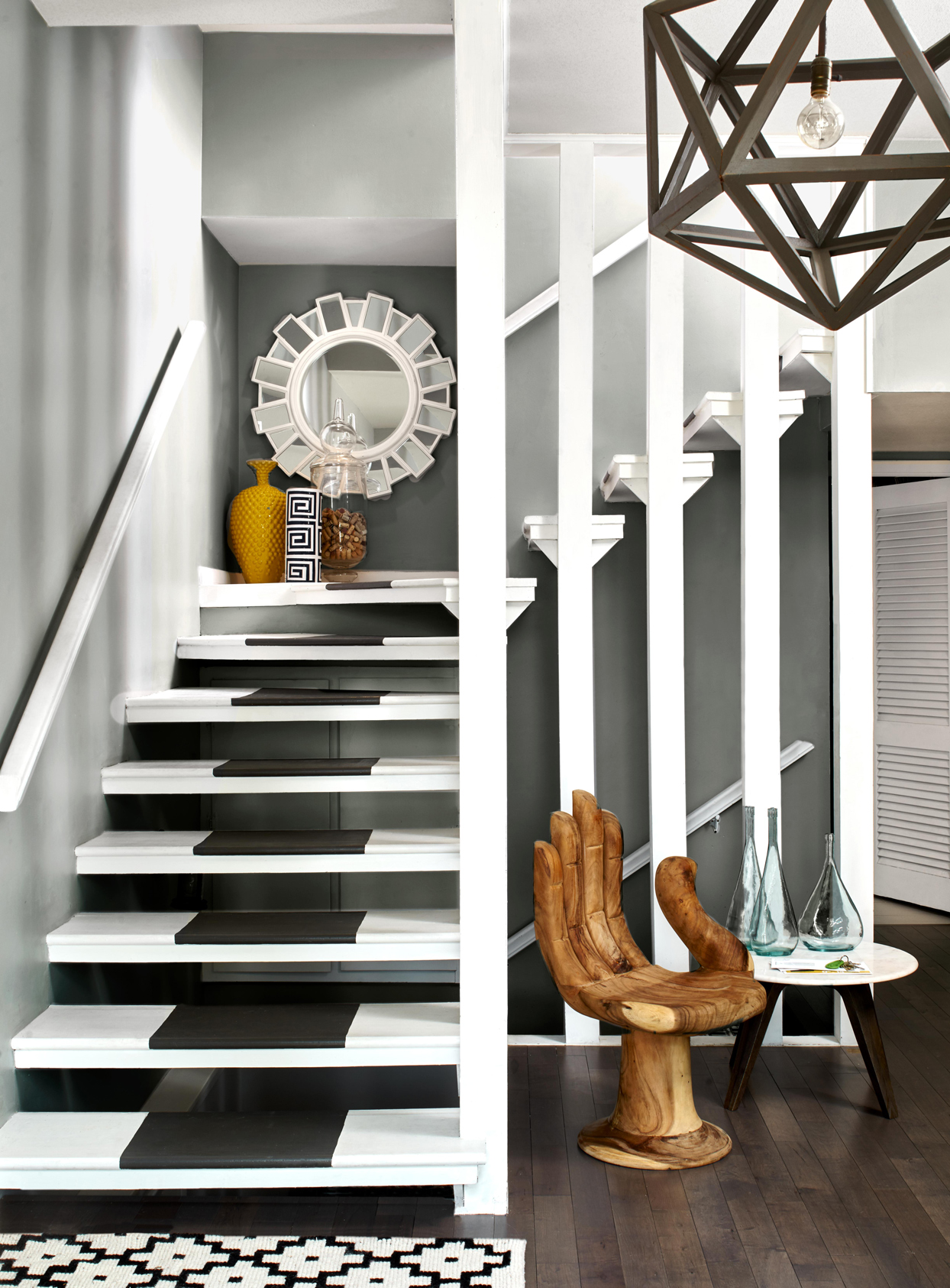 gray white floating staircase