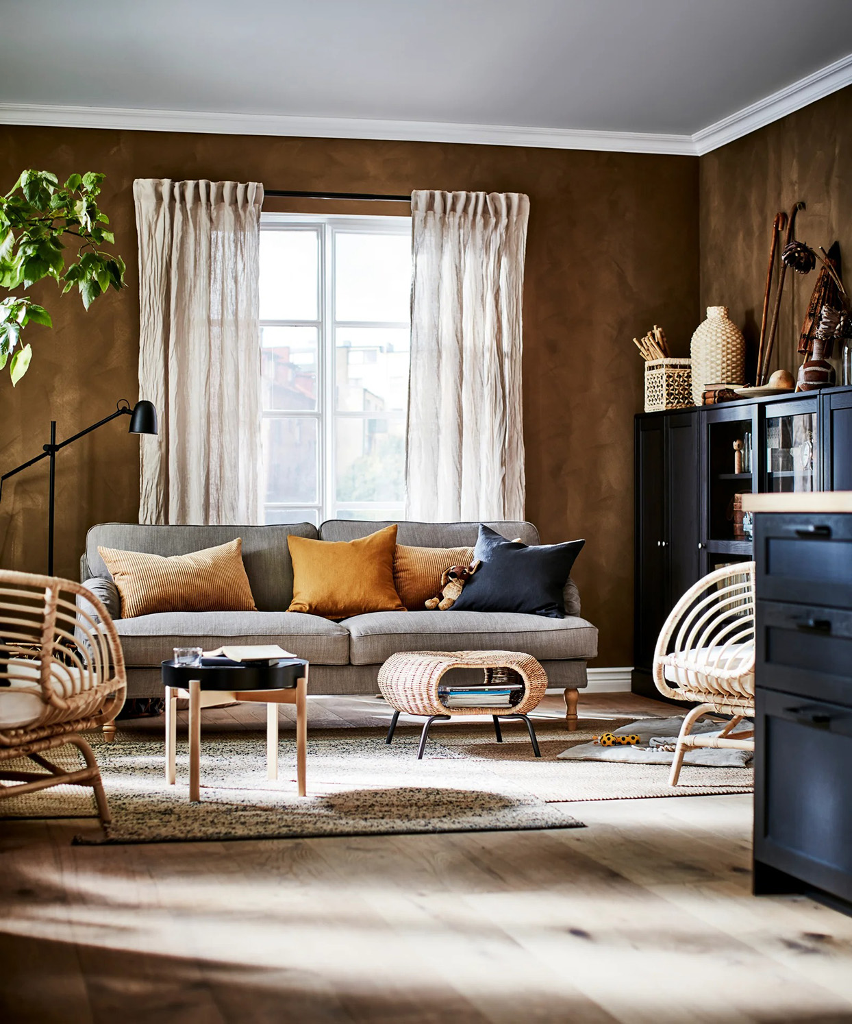 neutral living room with bamboo decor