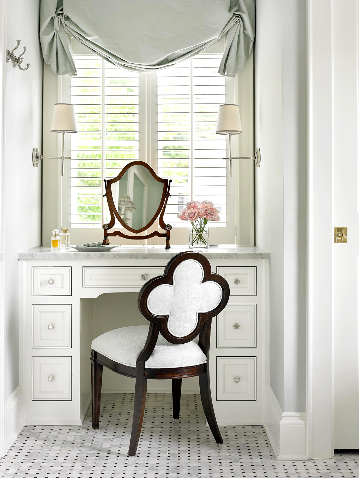 Bathroom vanity with clover back chair