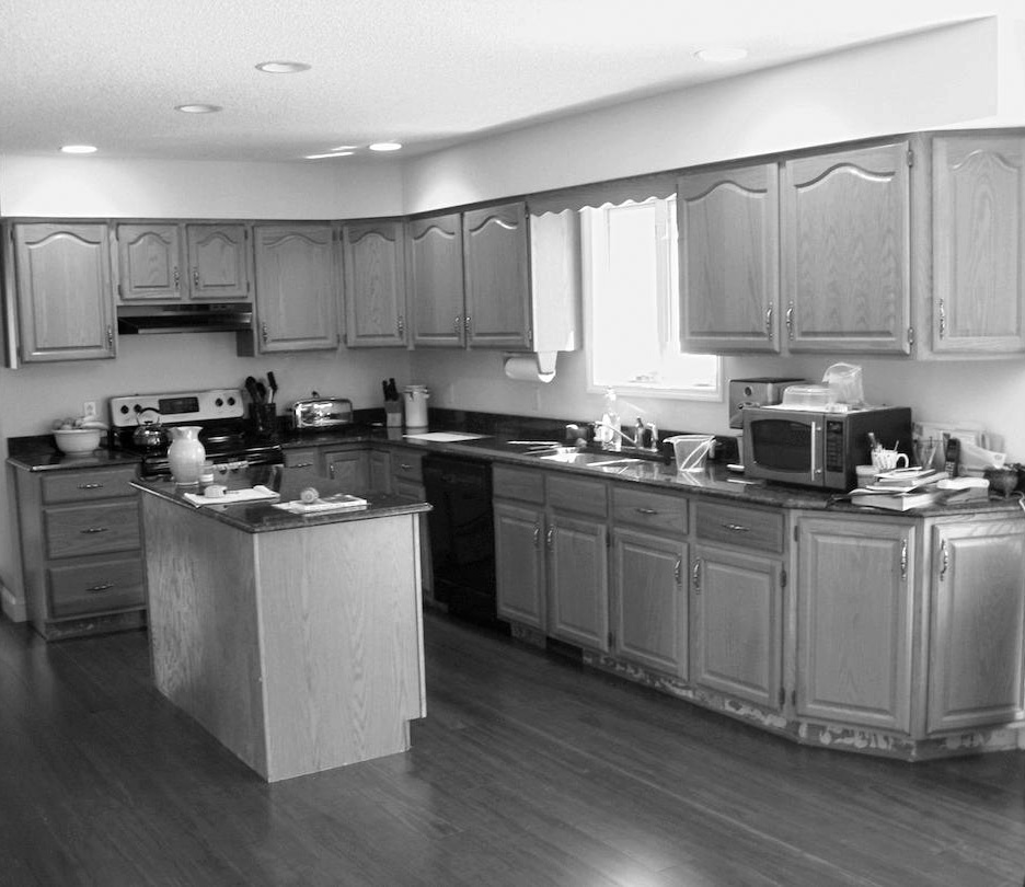black and white before kitchen basic
