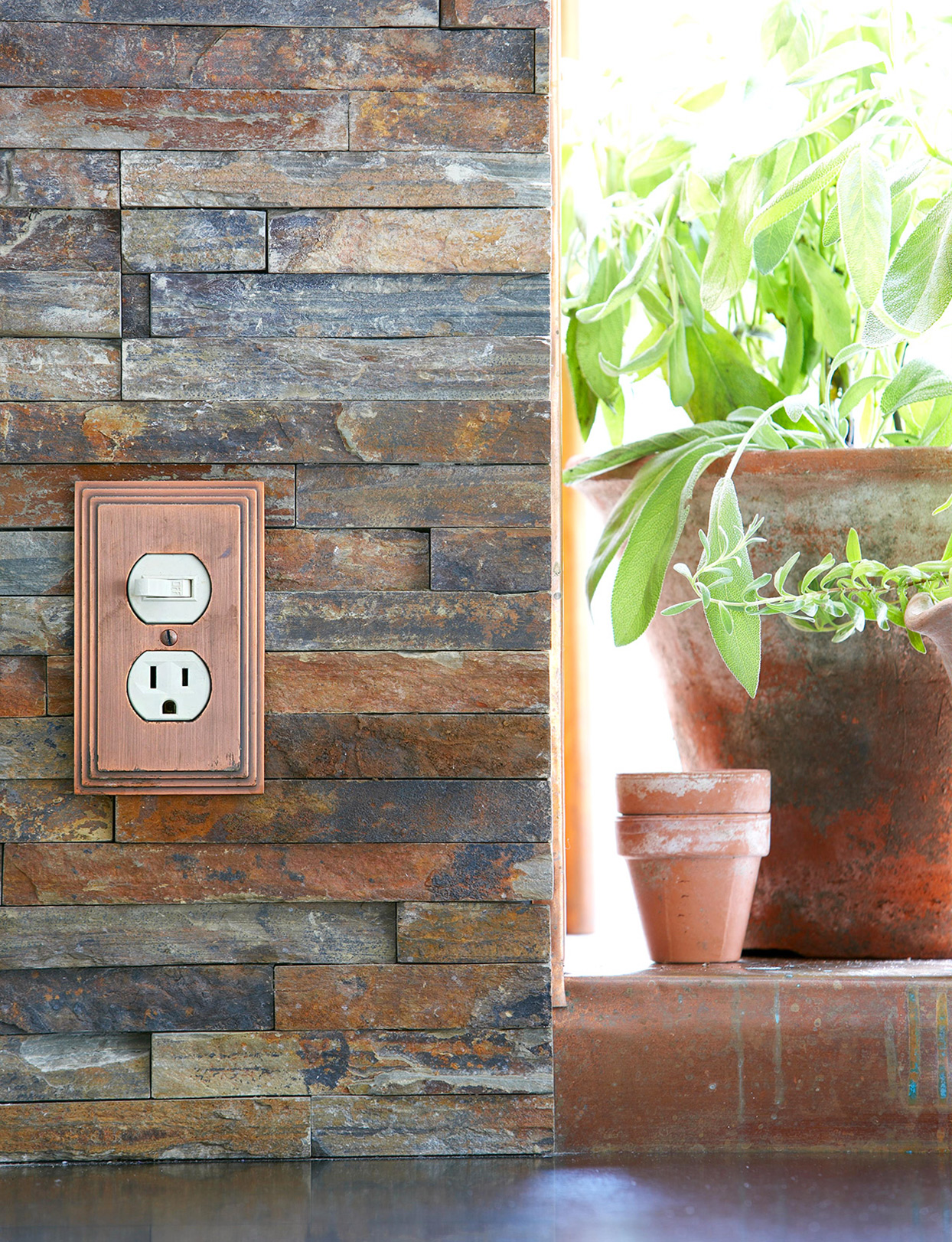 stone wall with switch