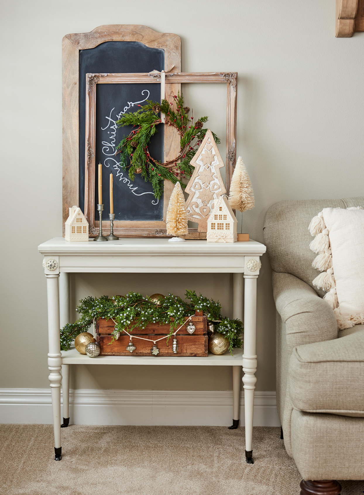 end table with christmas decorations