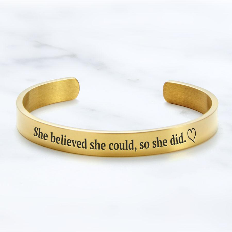gold bracelet that says she believed she could so she did