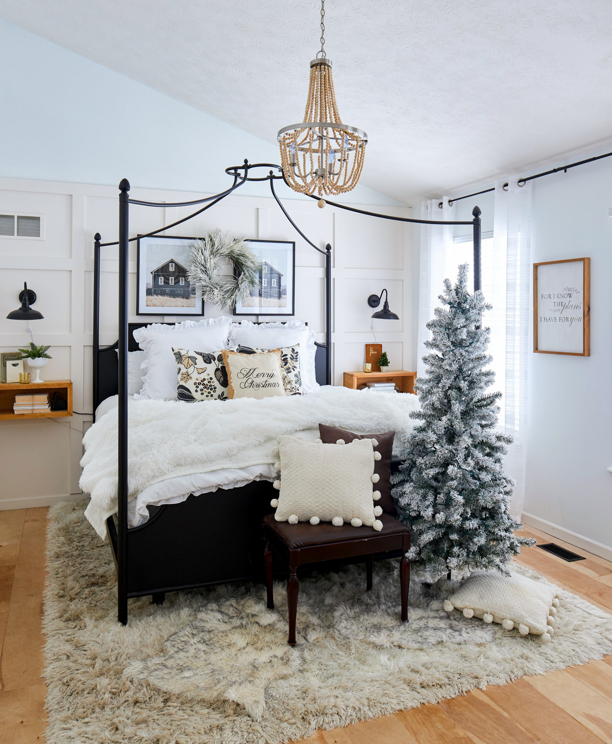 black and white bedroom with christmas decor