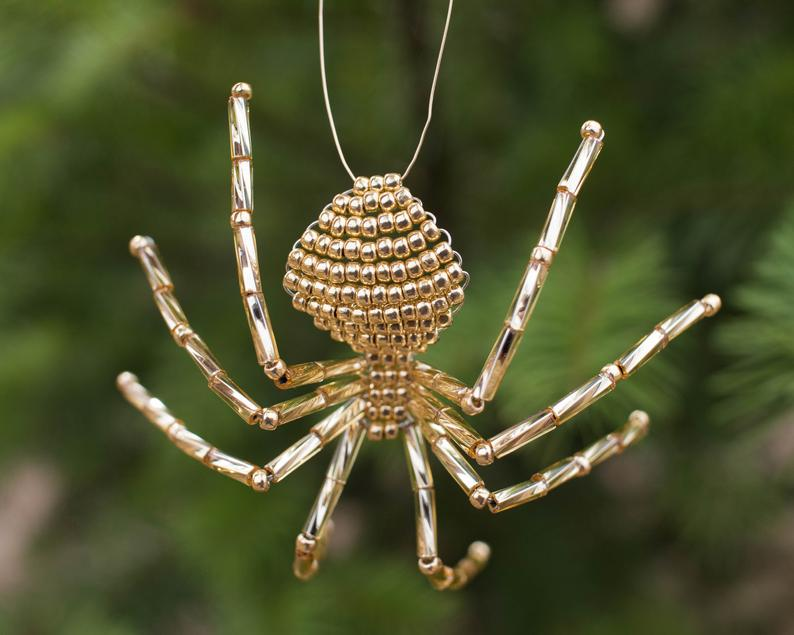 gold beaded spider Christmas Ornament