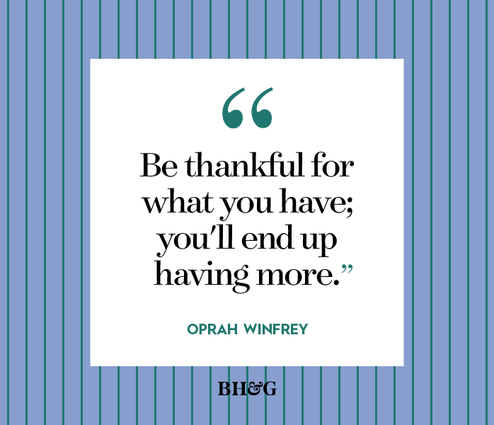 thanksgiving quote on a blue stripe background