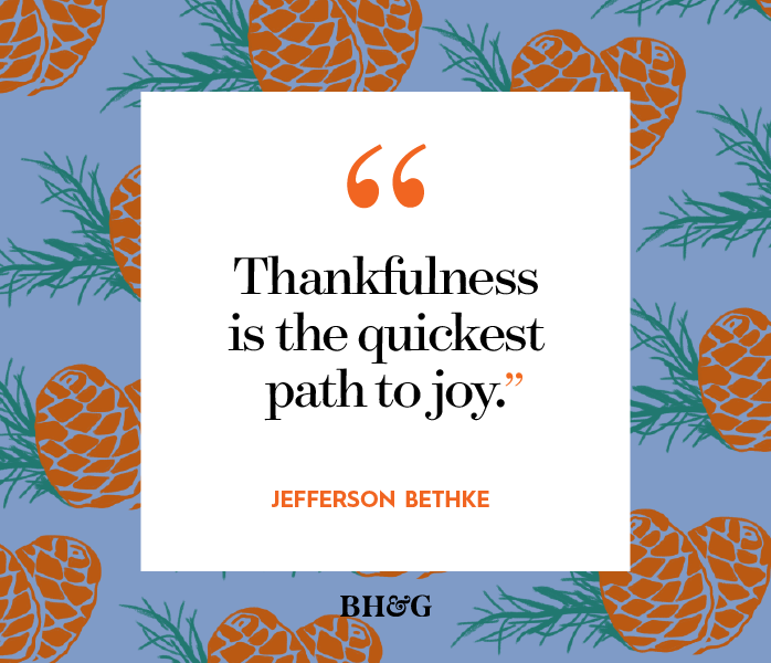 thanksgiving quote on a blue pinecone pattern background
