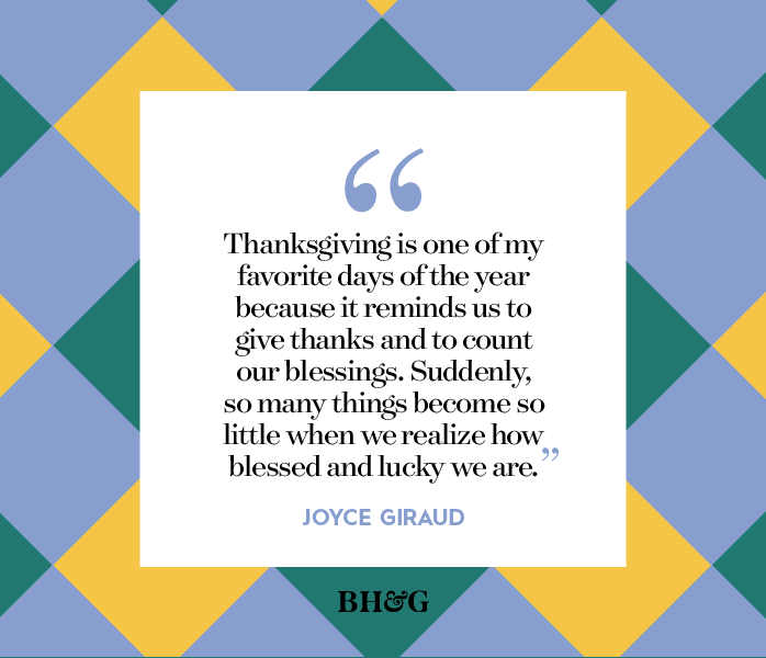 thanksgiving quote on yellow blue and green plaid background