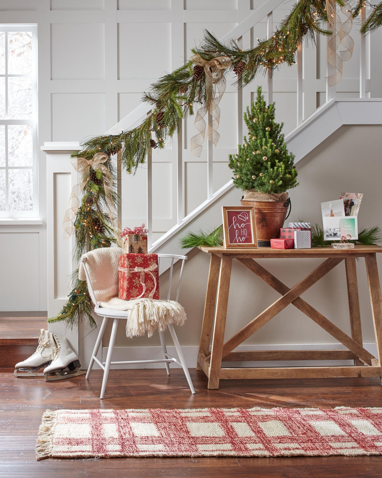 Entryway Christmas decor greenery