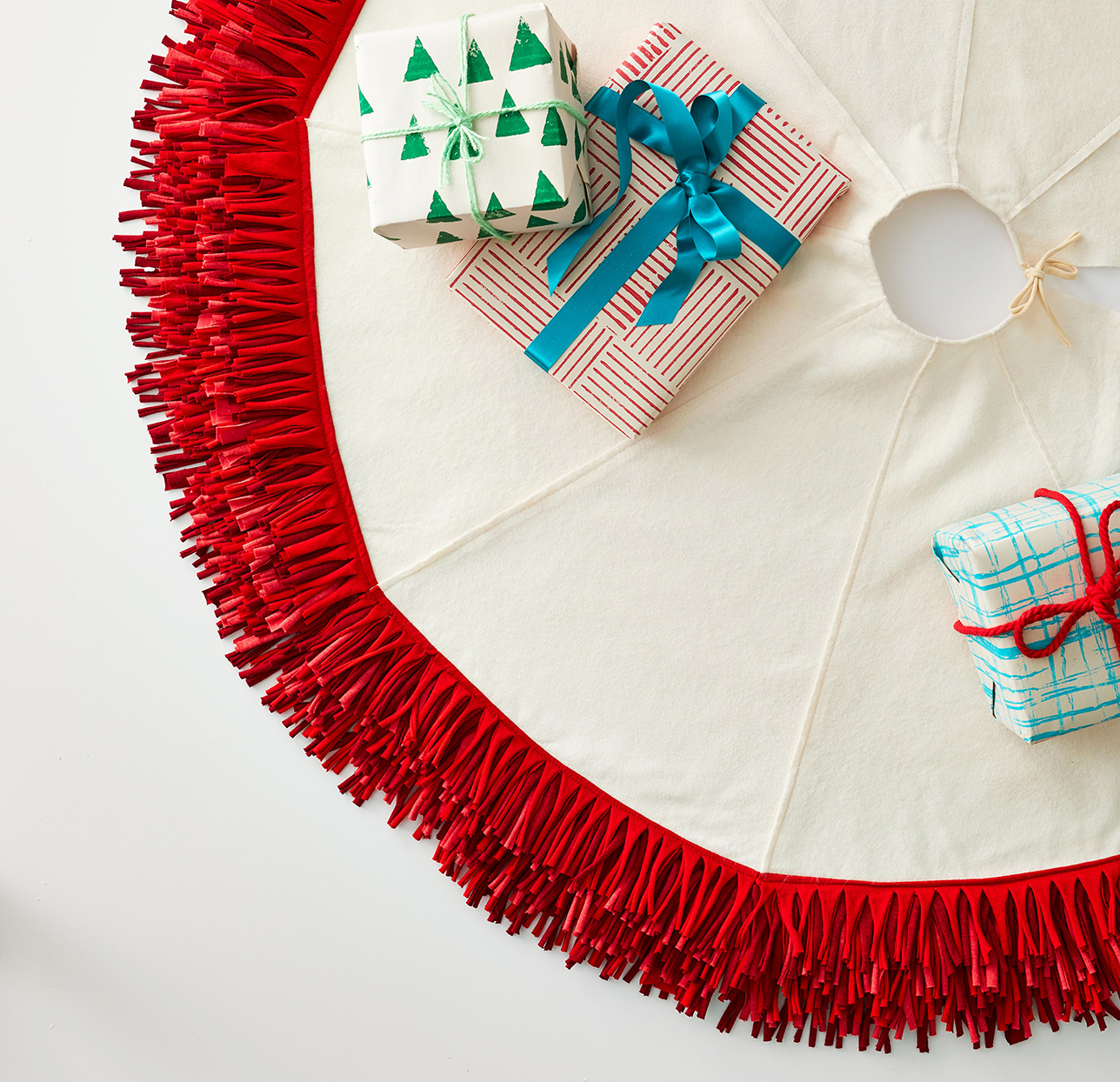 whimsical holiday frilly tree skirt