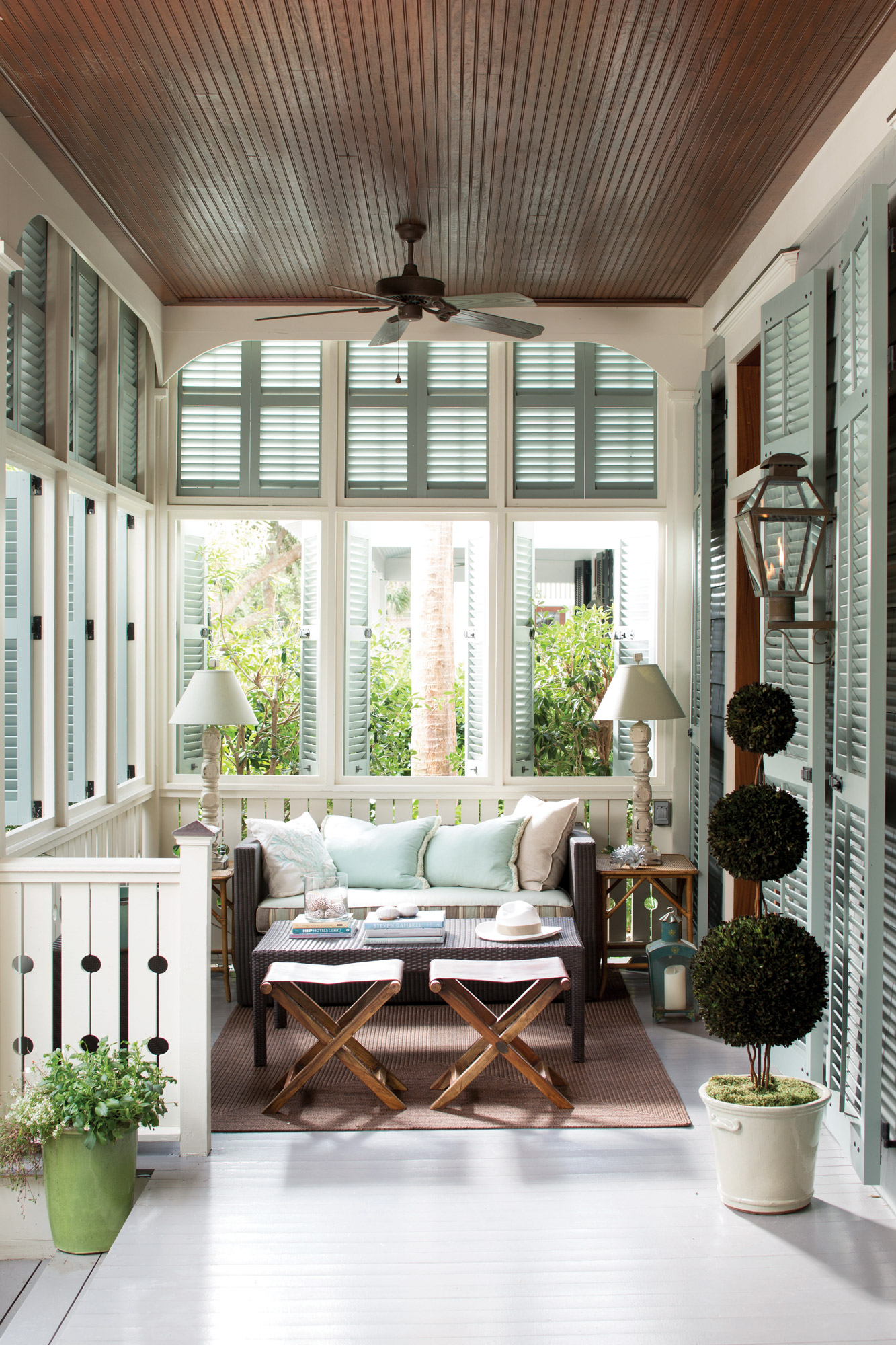 white painted porch floor