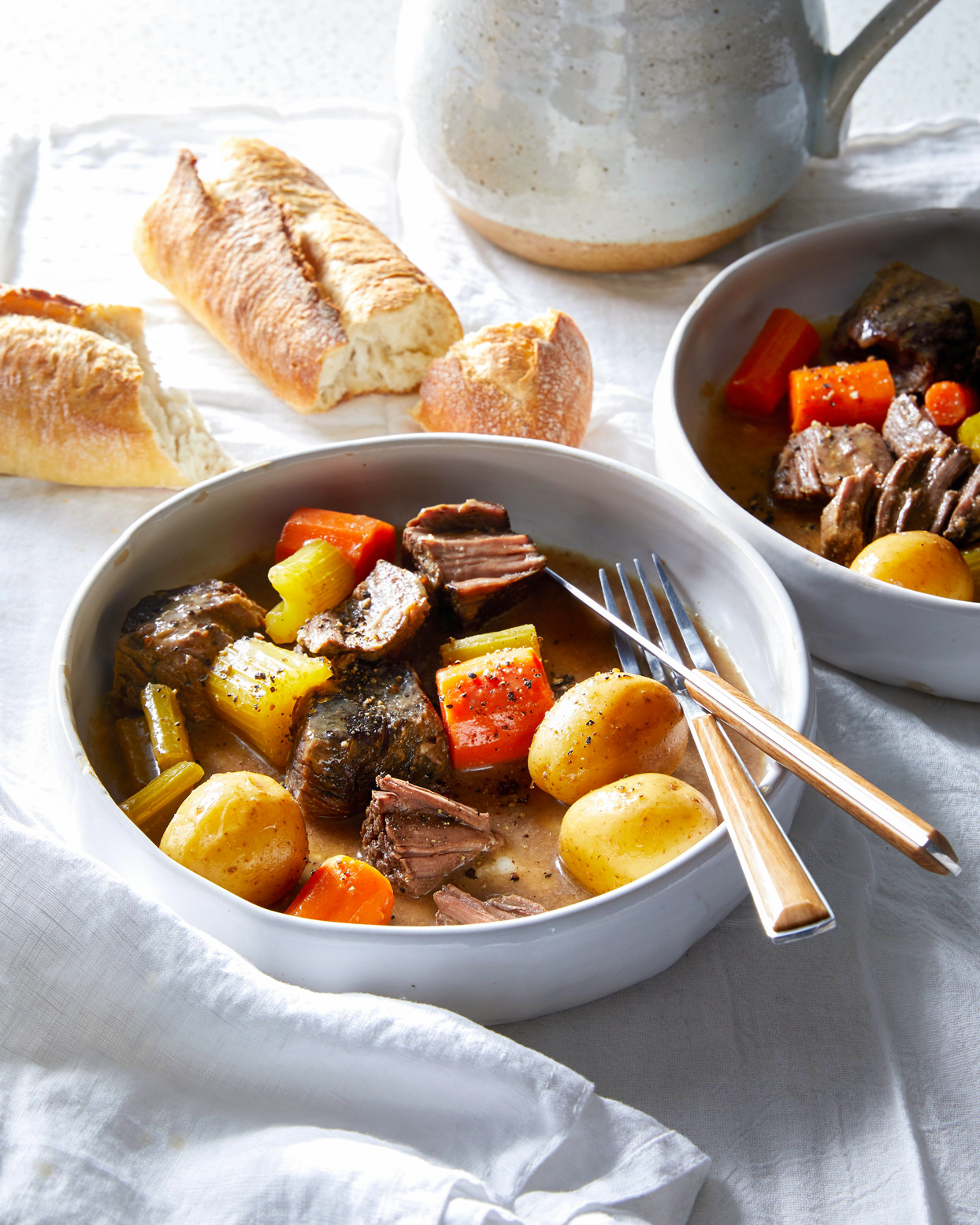 Beef and Veggies in a white bowl
