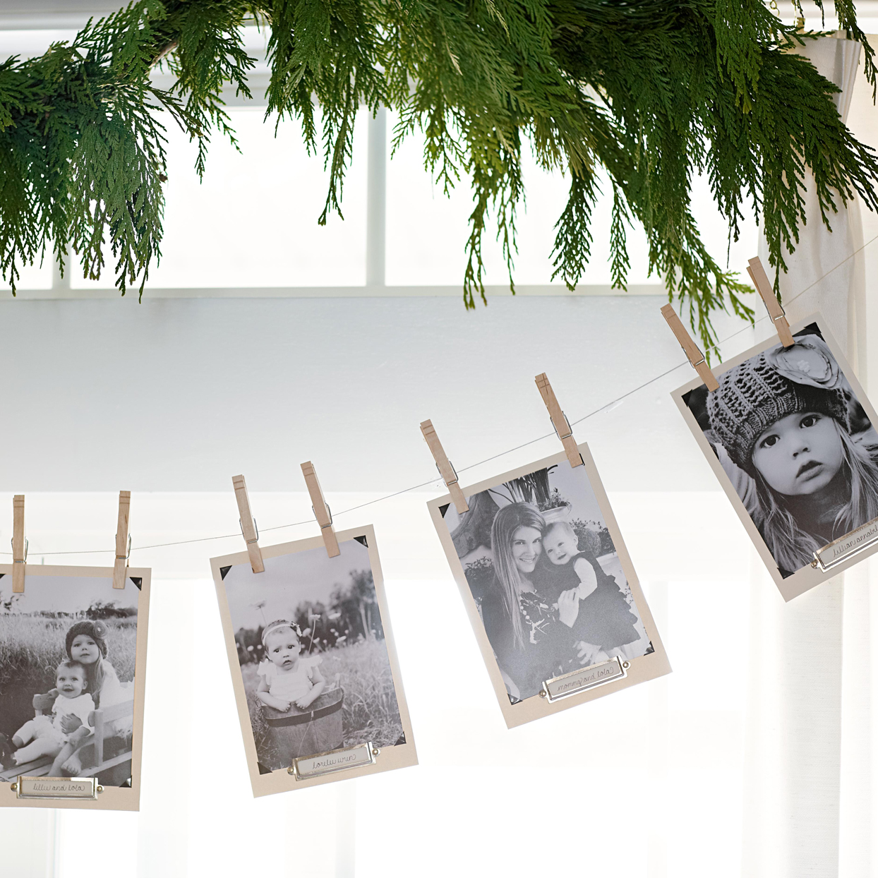 clothes pins twine photo display