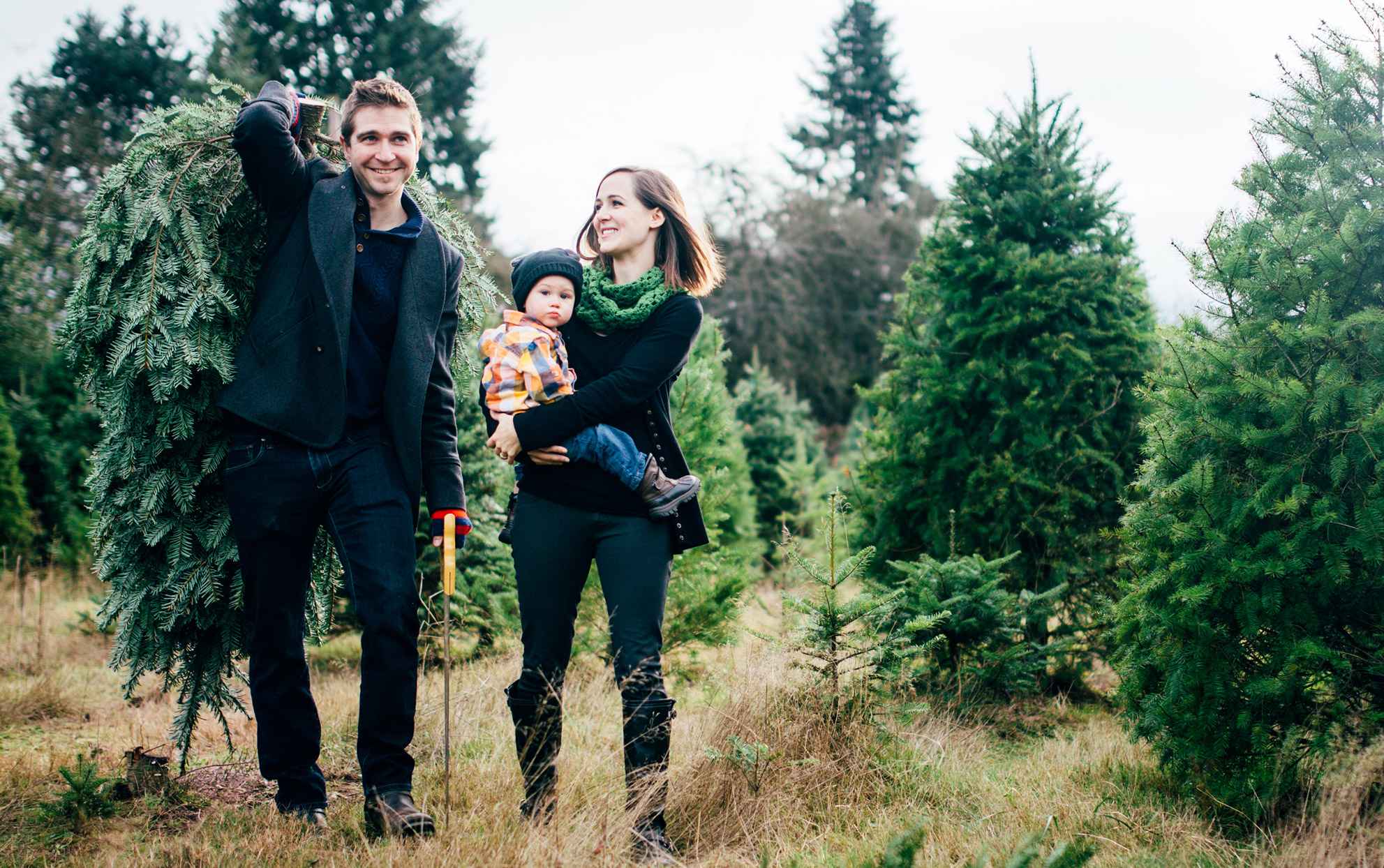 Family at a Christmas tree farm with a cut down tree