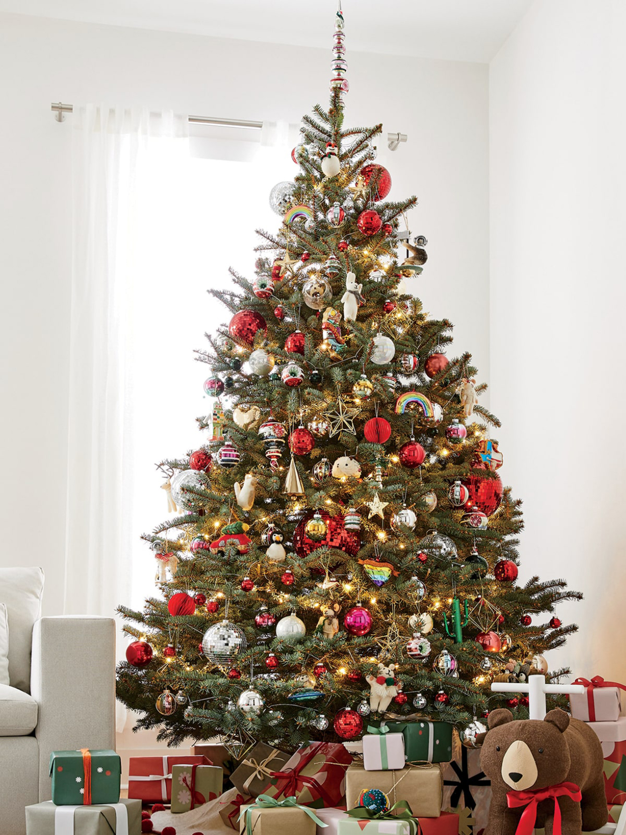 christmas tree decorated with colorful ornaments
