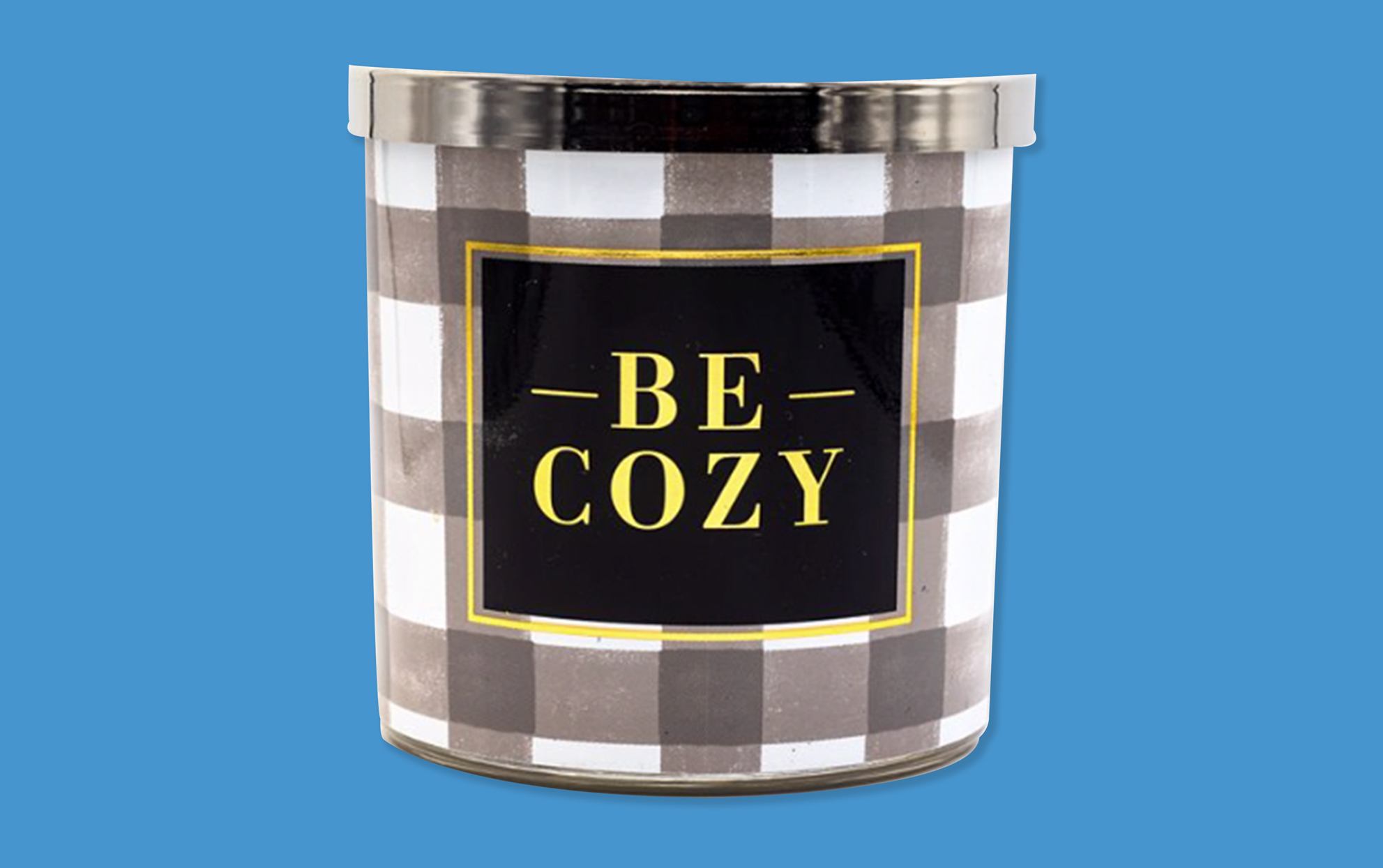 Be Cozy black and white plaid candle on a blue background