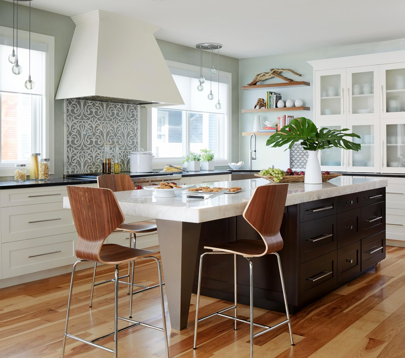 kitchen with large island and wood floors
