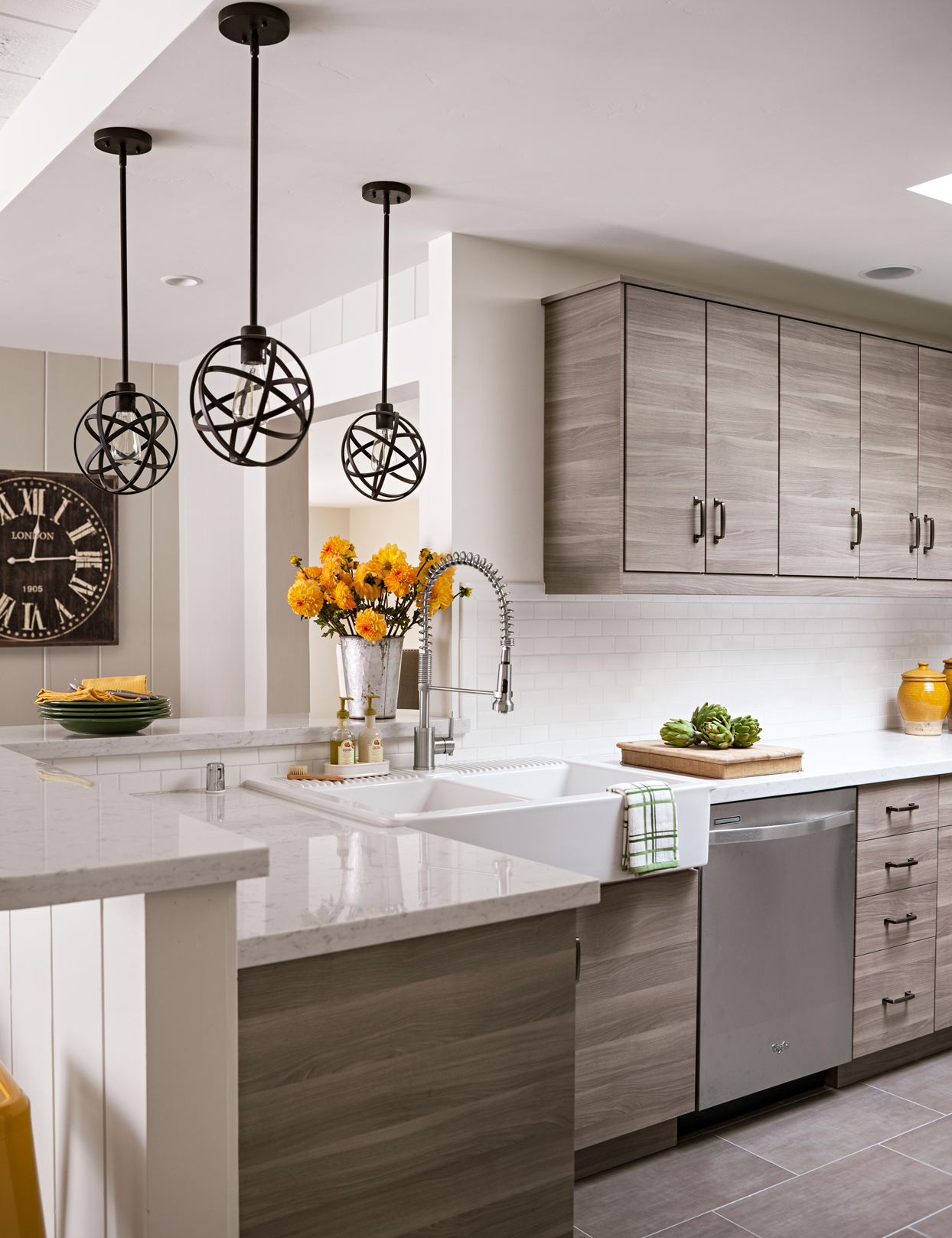 white kitchen with marble counters