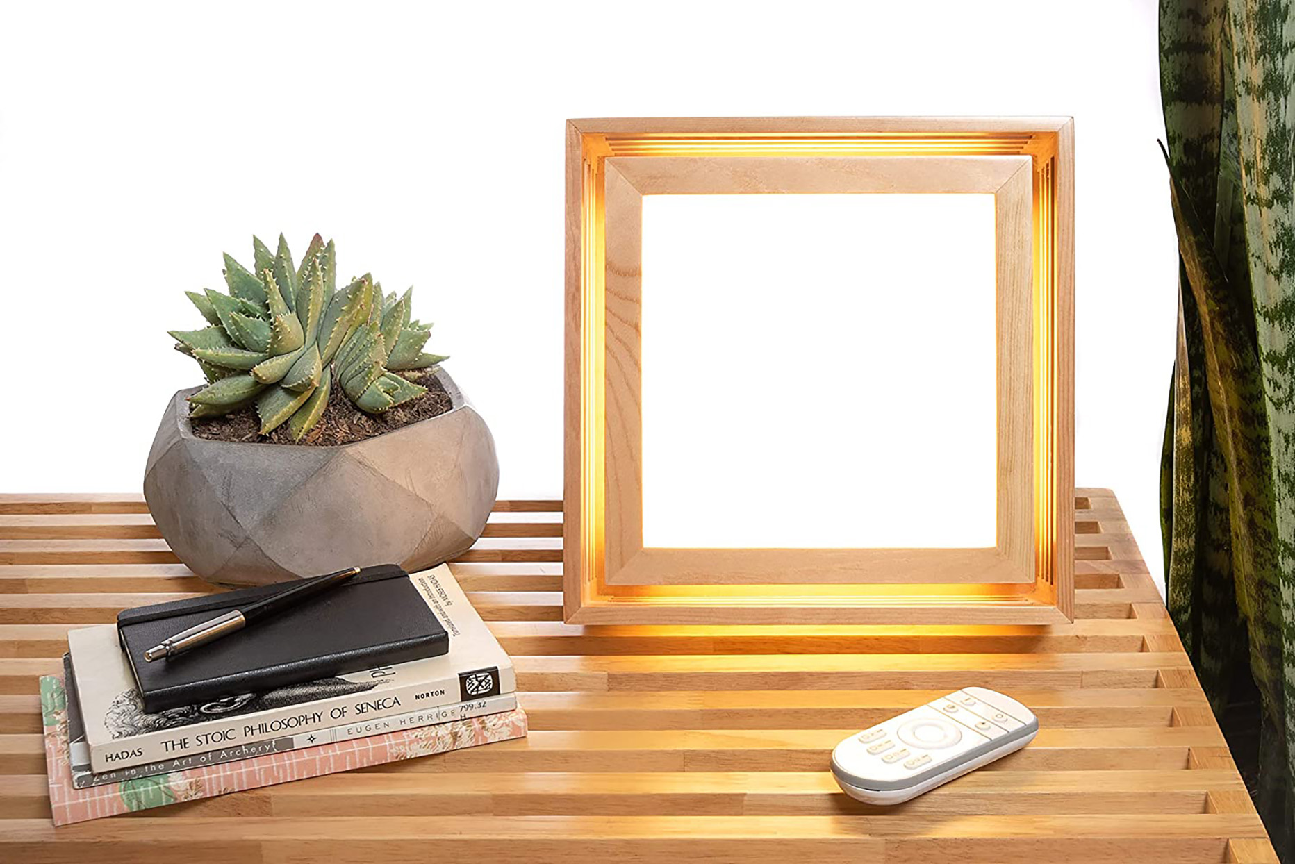 wood light therapy lamp on wood table