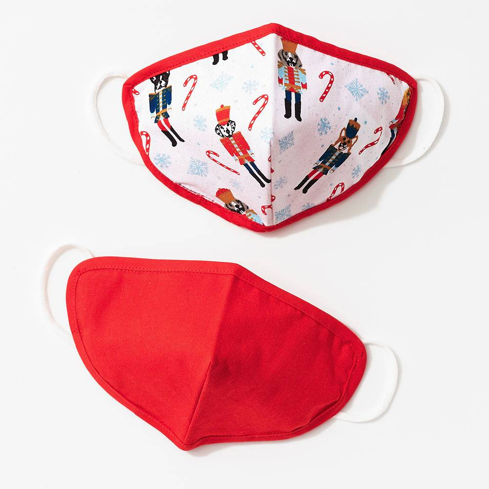 red and white christmas face mask