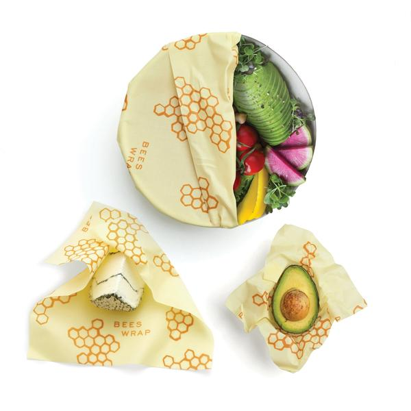 trio of bee's wrap with food