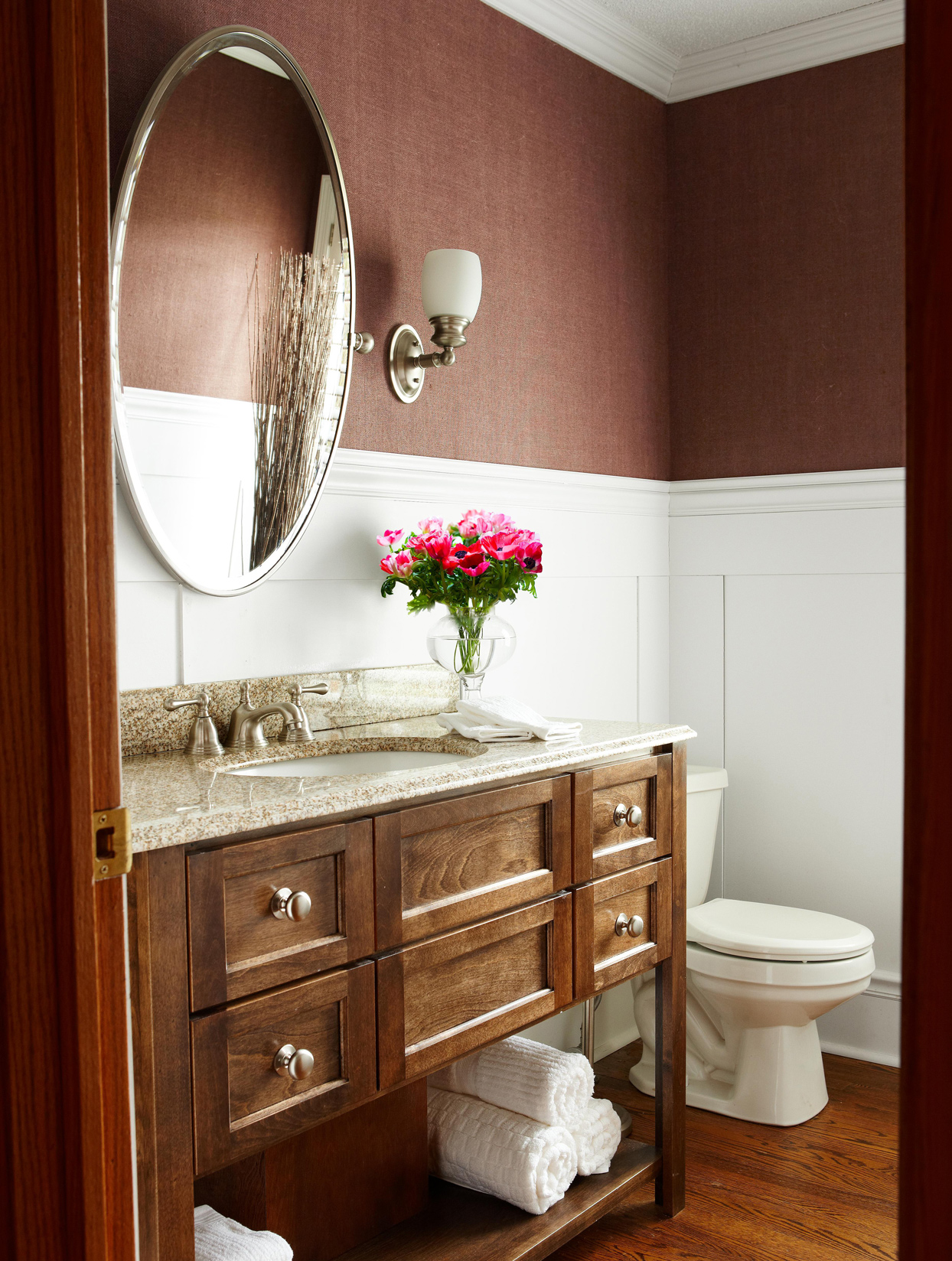 brown and white bathroom color scheme