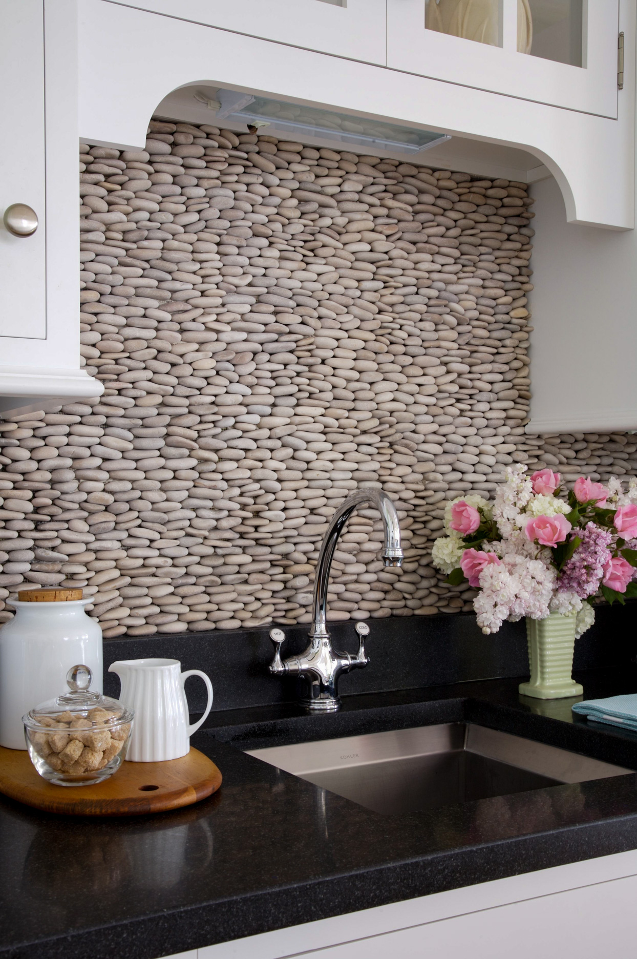 bumpy stone backsplash