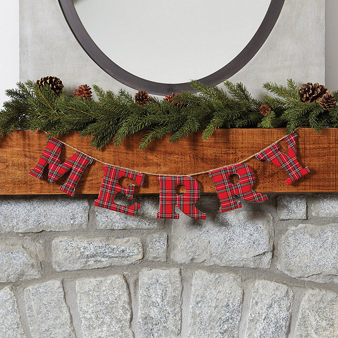 merry garland in plaid