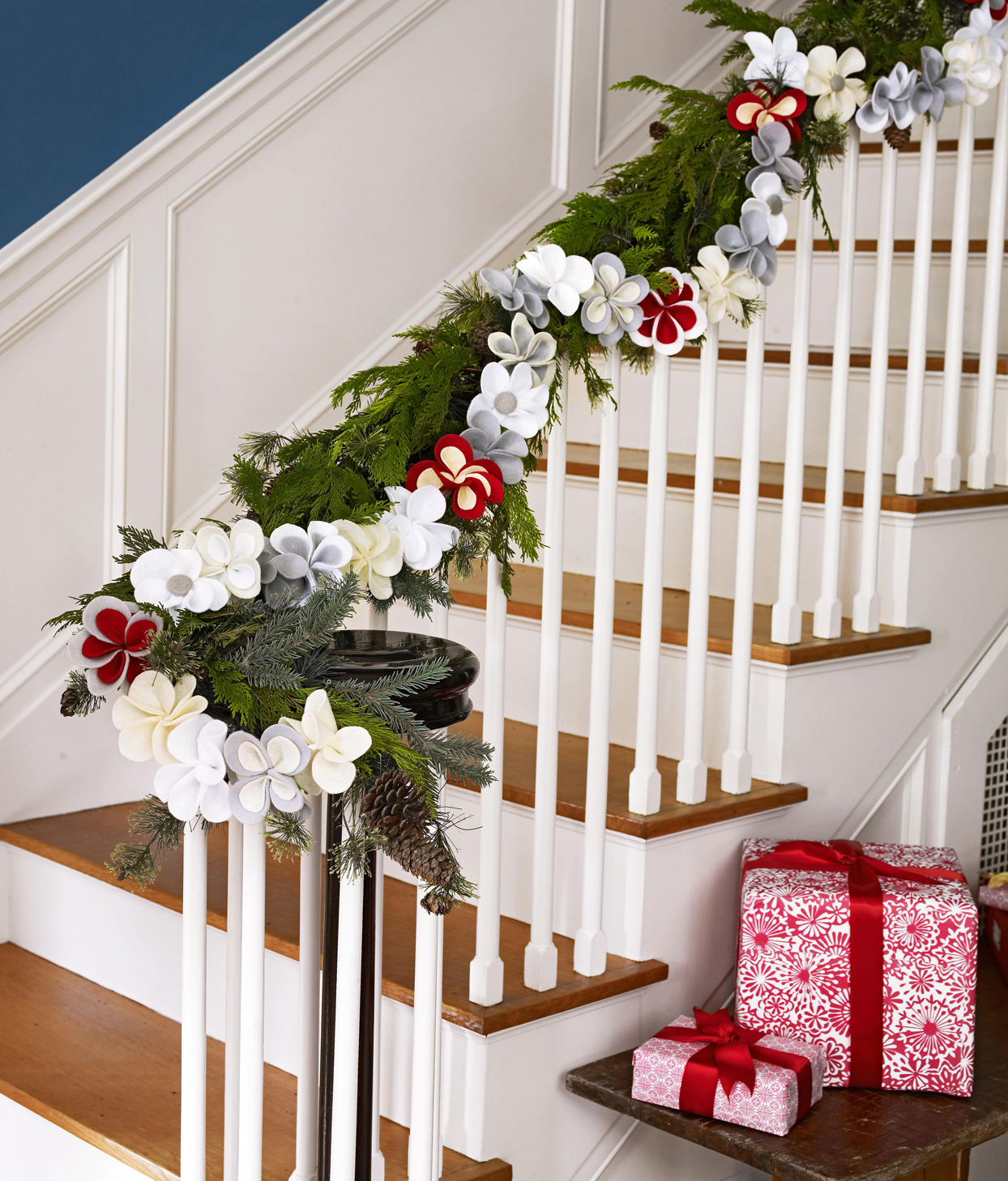 Felt Flower Garland stairs