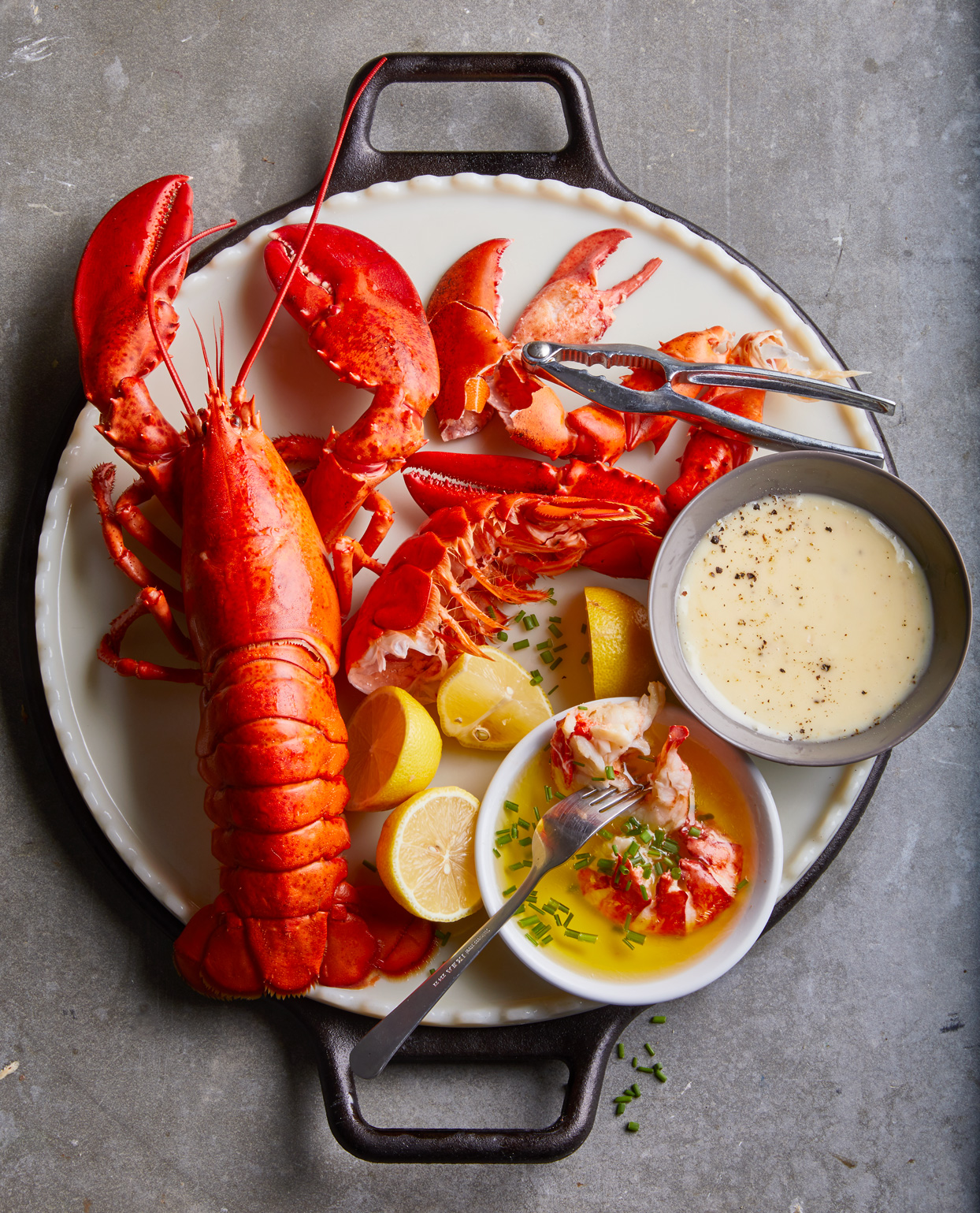 boiled lobster with clarified butter and beurre blanc