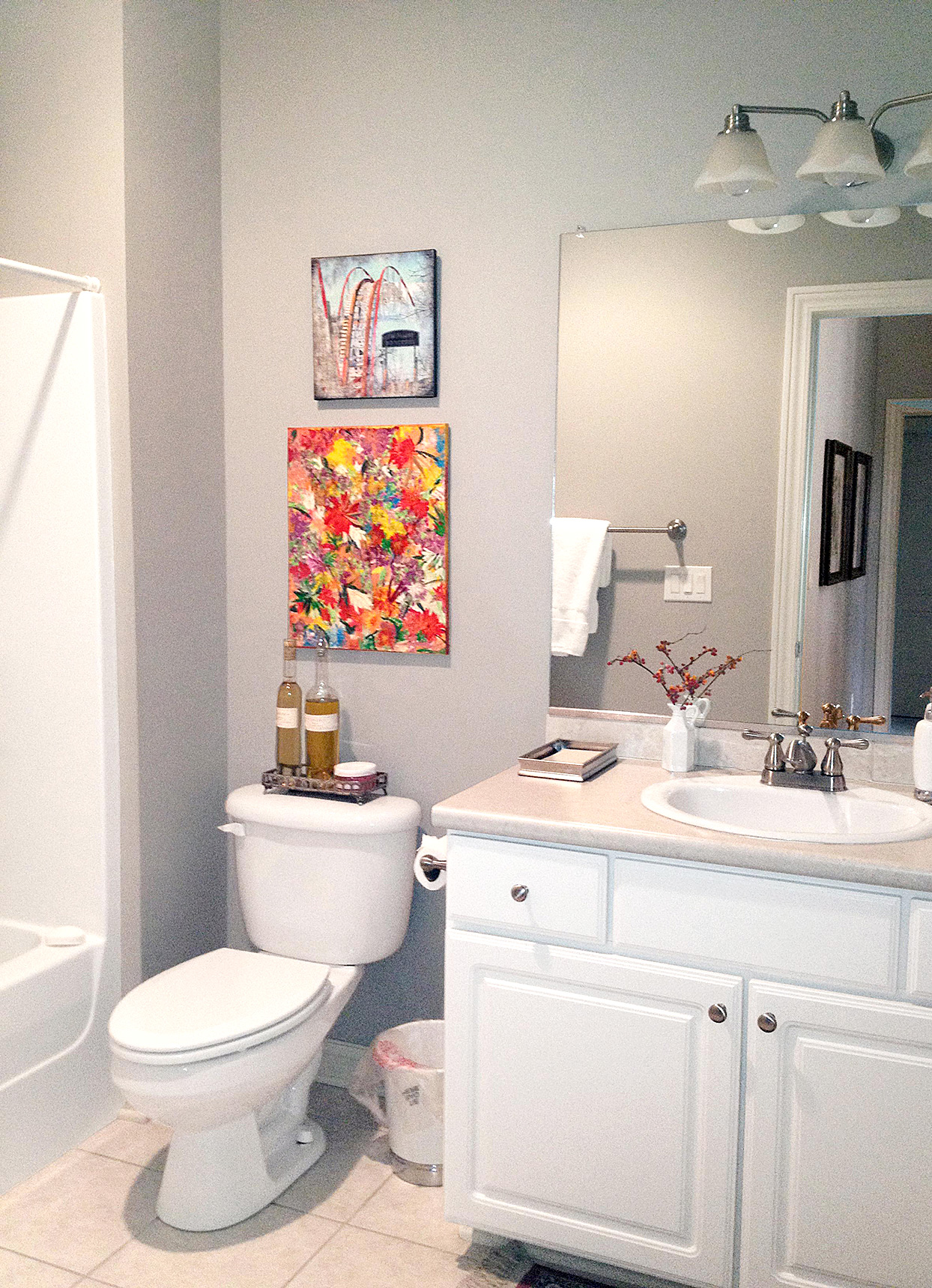 bathroom with gray walls and artwork