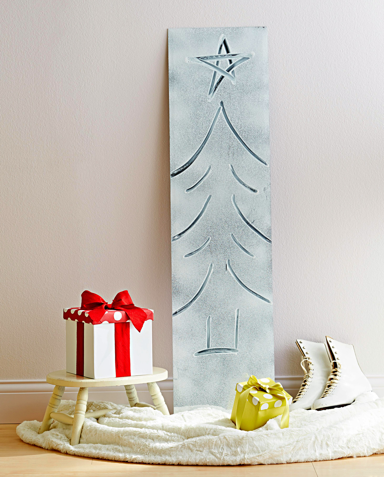 Frosted Mirror with a Christmas Tree