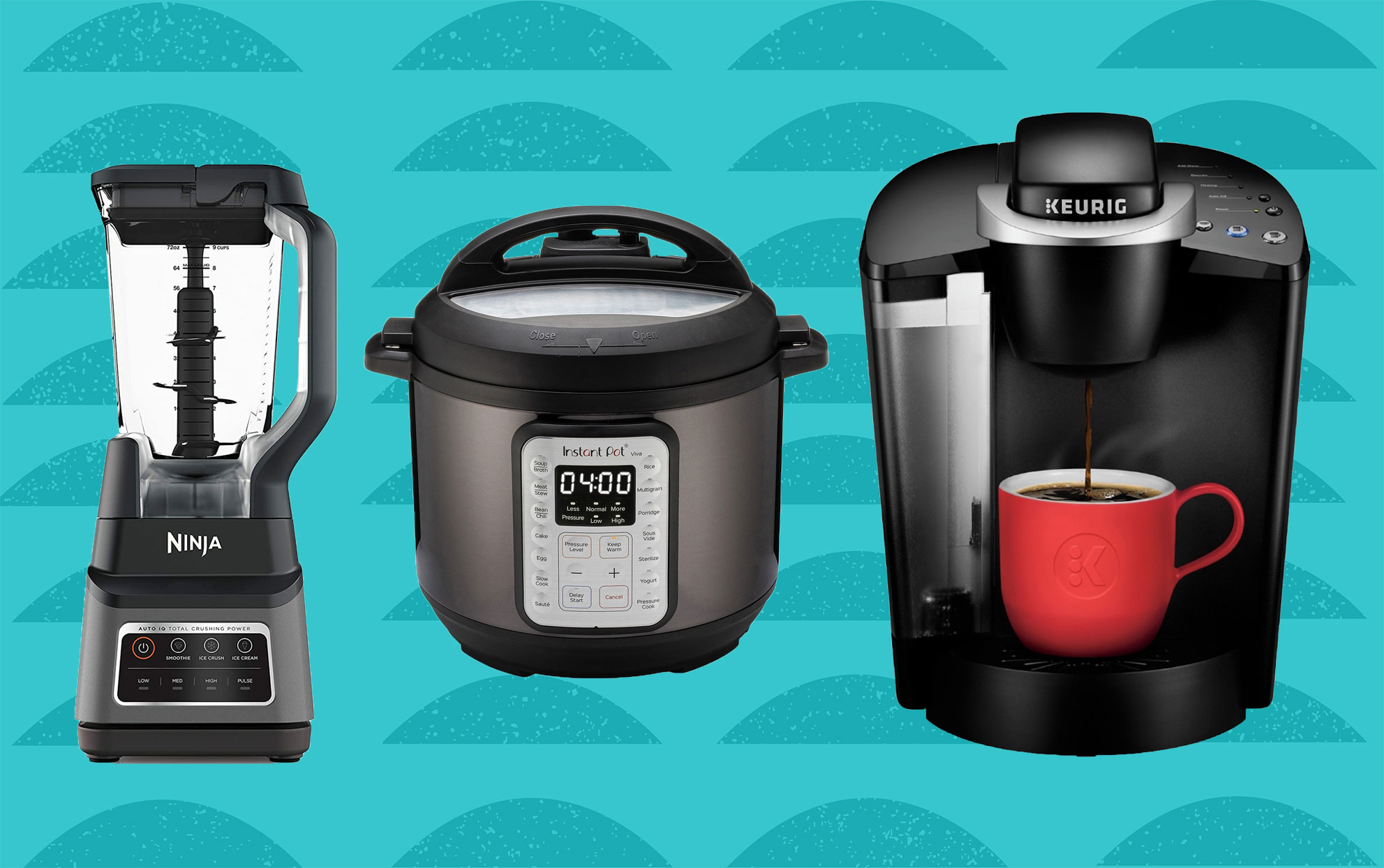 kitchen appliances on teal background