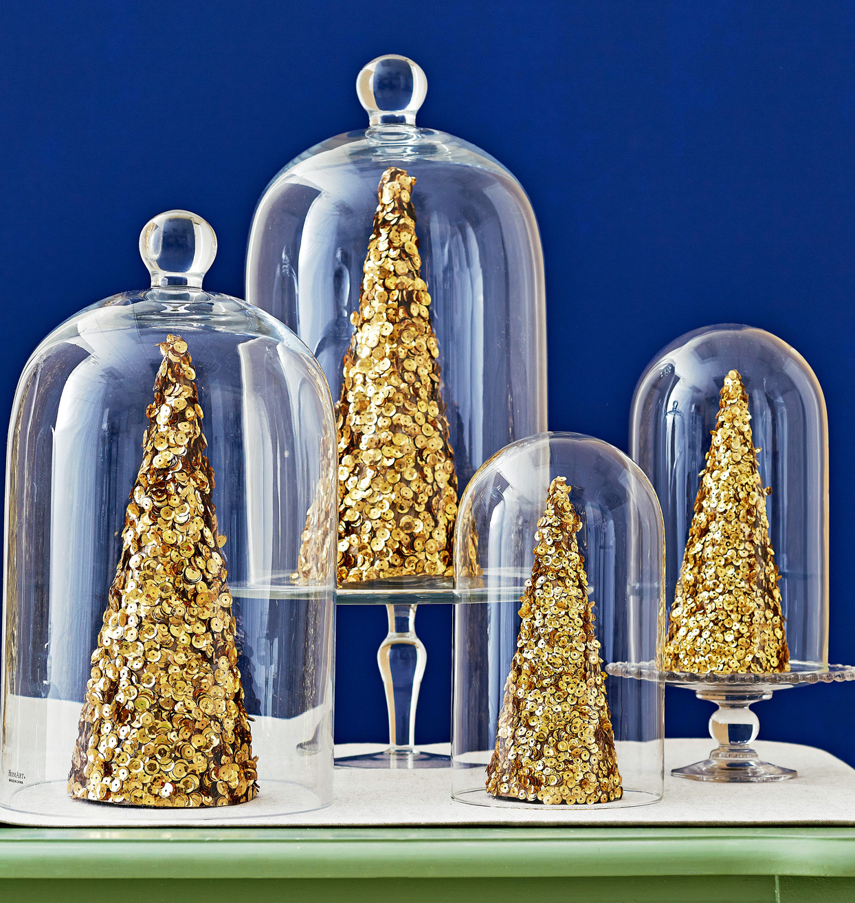 gold-dusted trees in glass