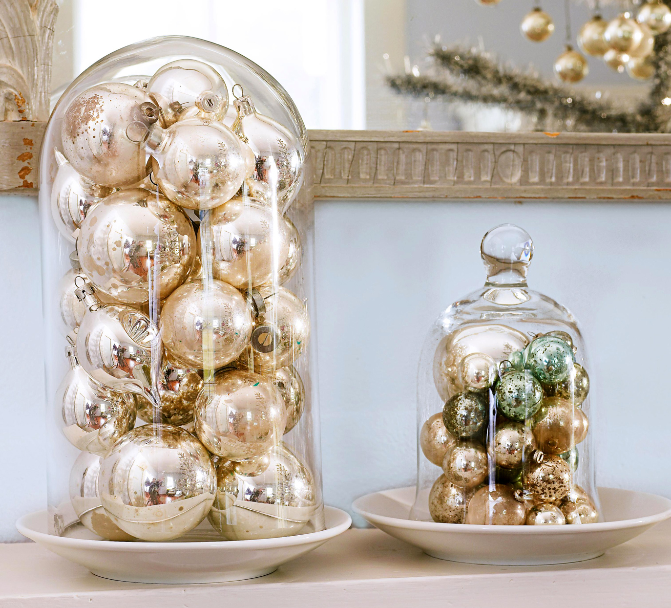 gold ornaments in cloches