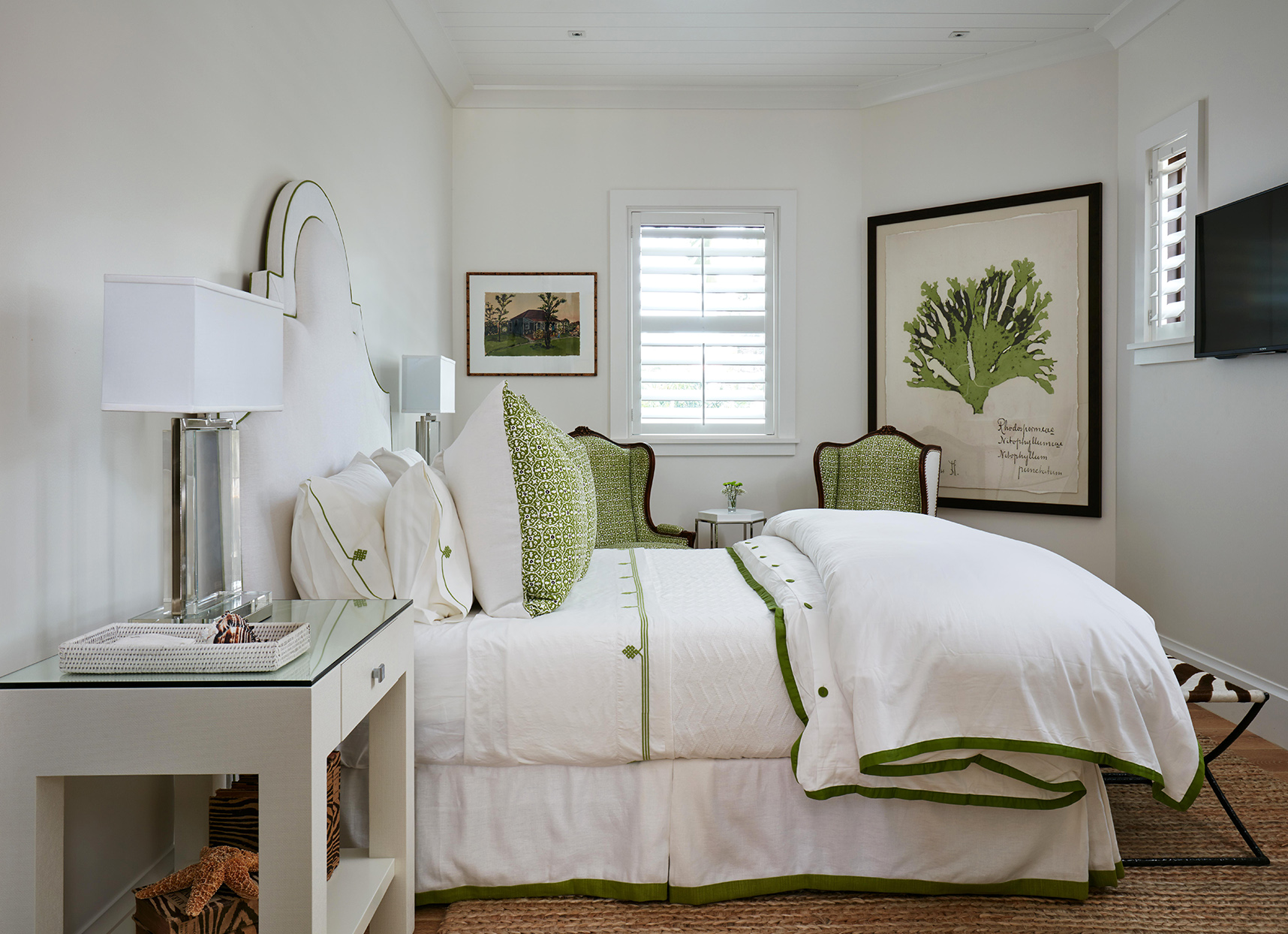 white bedding green accents