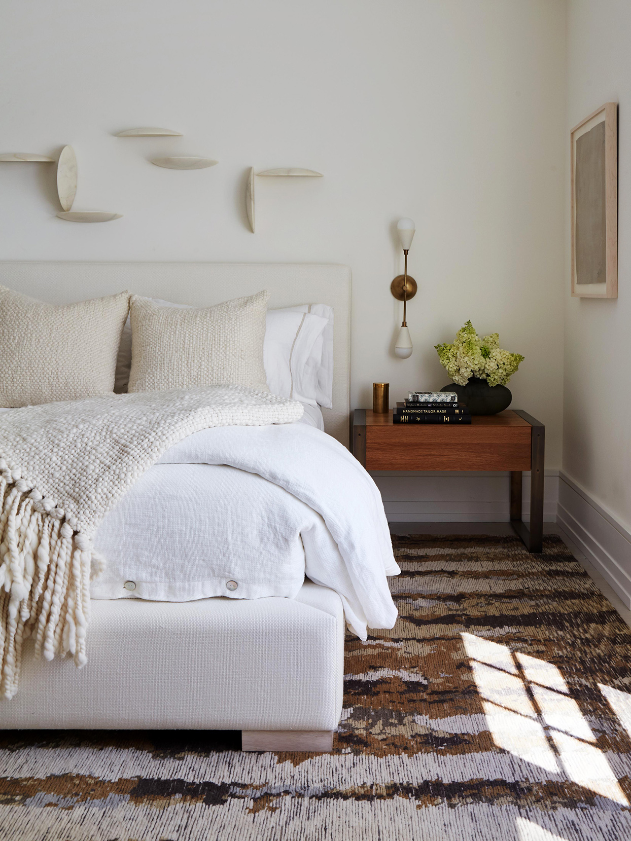 White Bedroom with shag rug