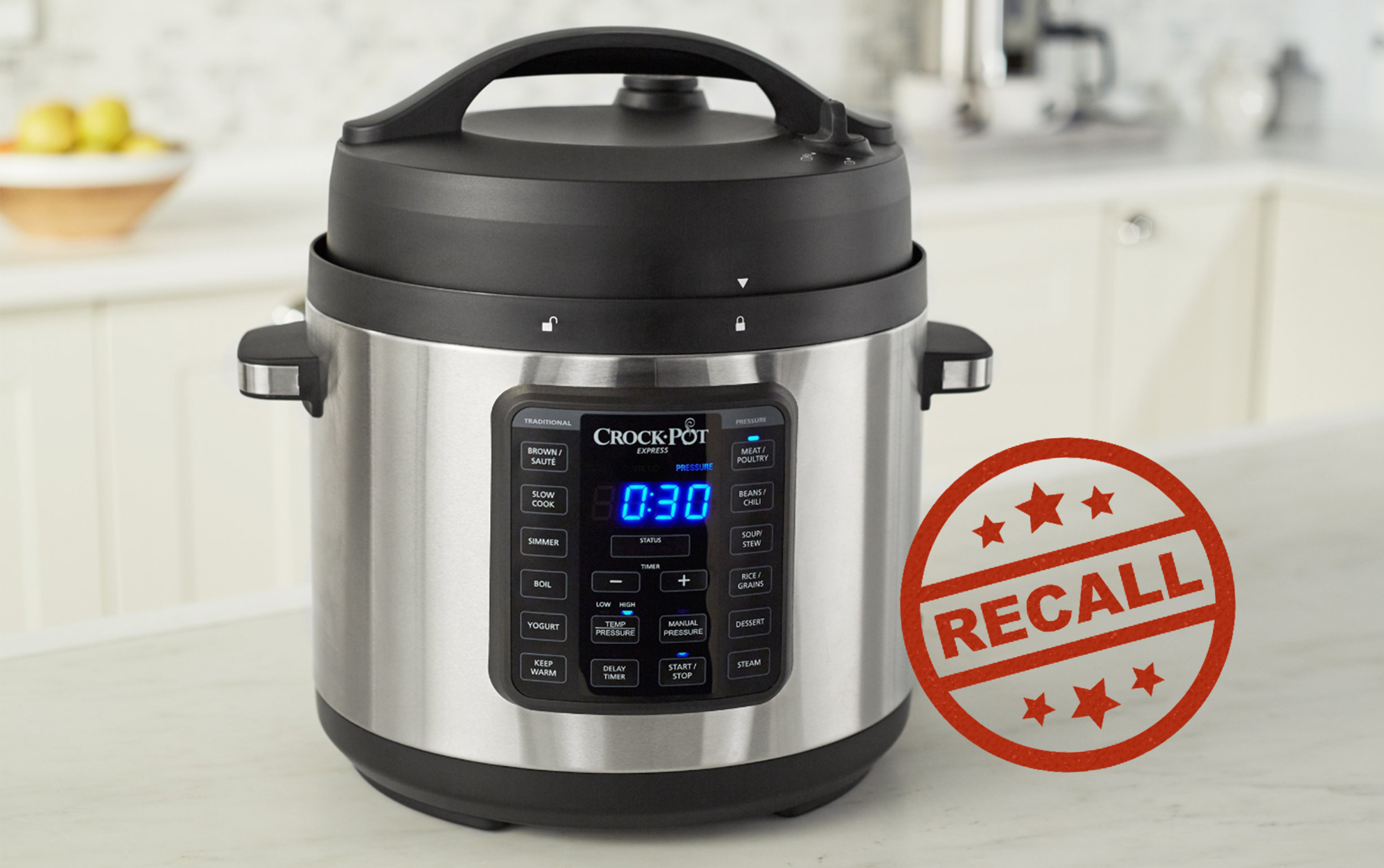 Crockpot on a kitchen counter with a red RECALL stamp