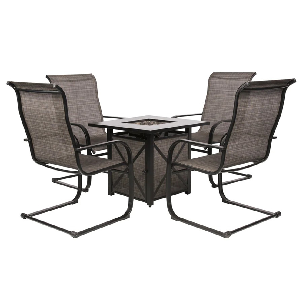 gray patio set with four chairs and firepit