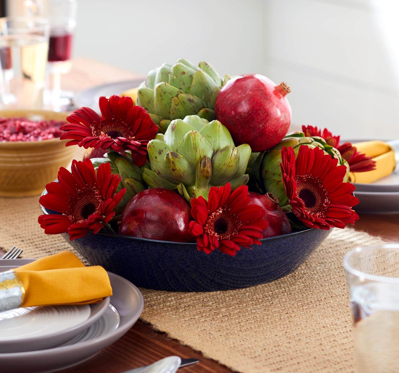 pomegranate and artichoke centerpiece