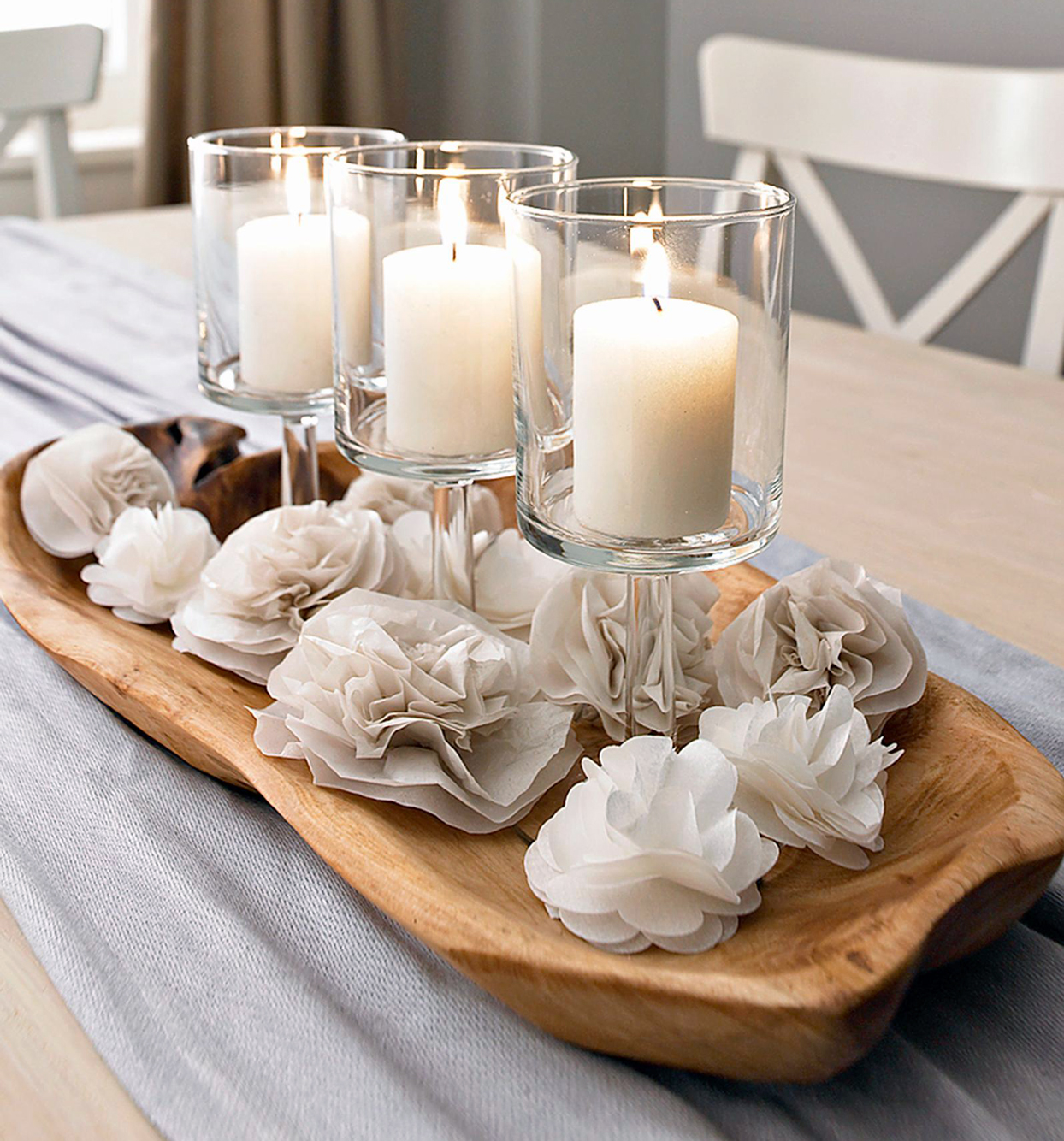 Tissue Paper Flowers Centerpiece