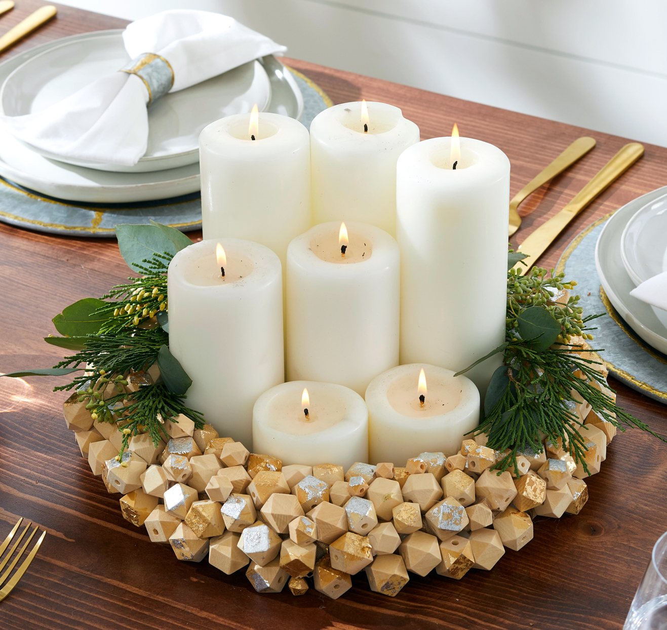 wooden wreath with candles