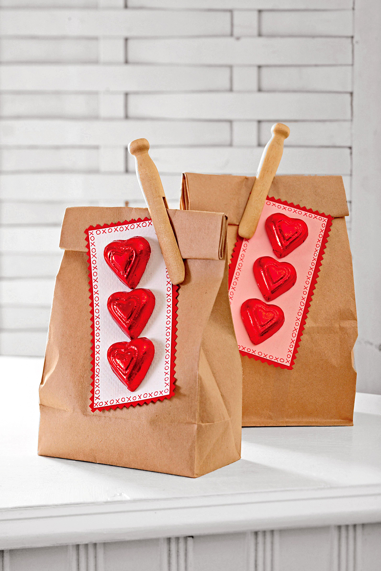 chocolate hearts on lunch bags