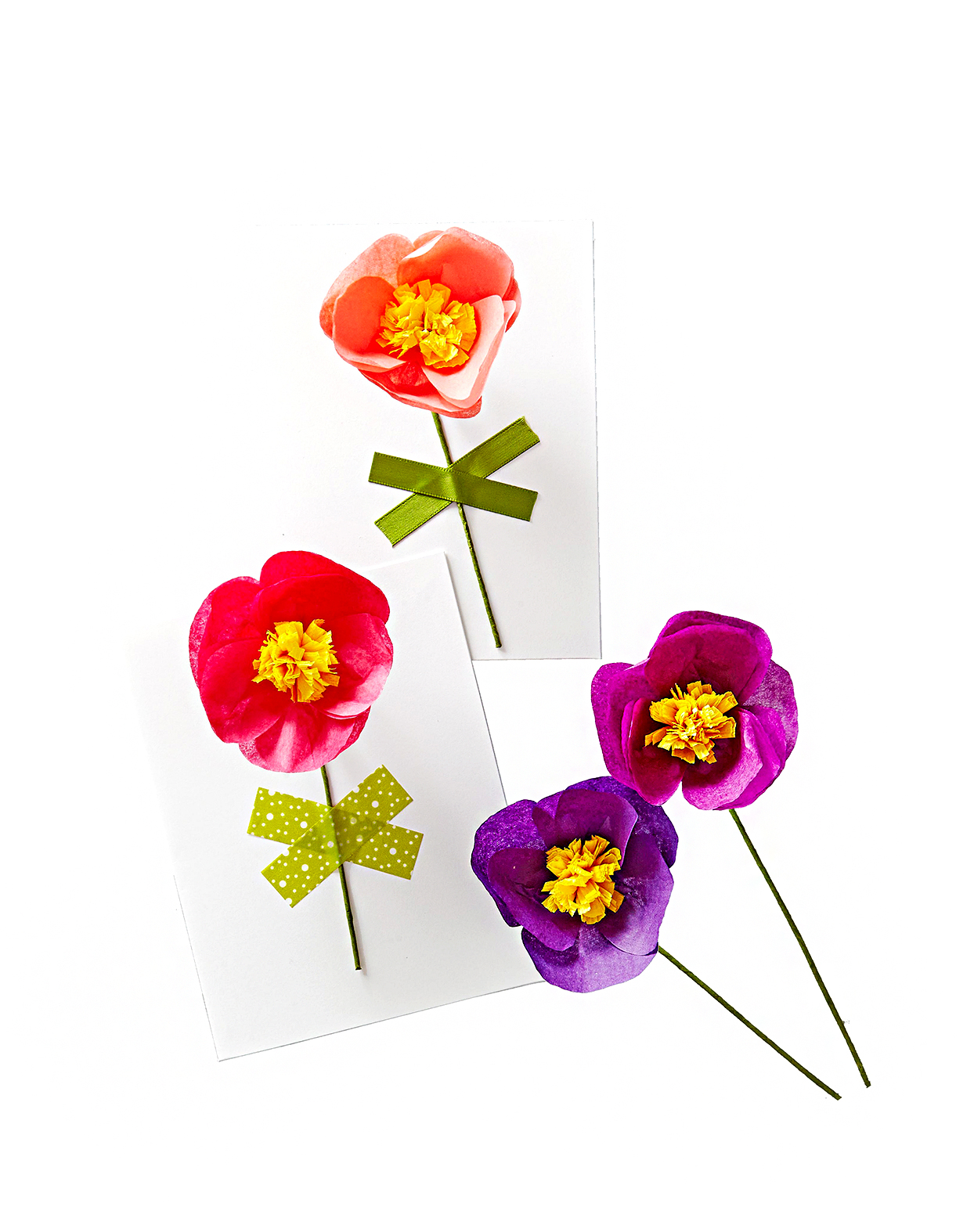 valentine cards made with paper flowers