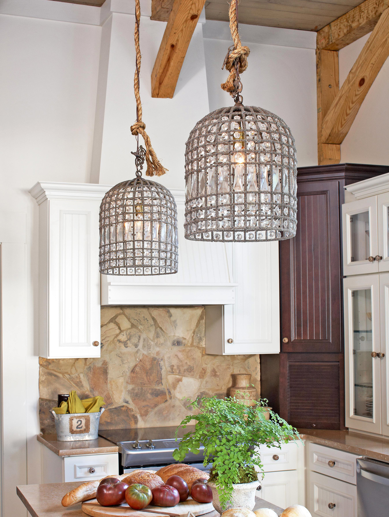 sparkling pendant lights kitchen