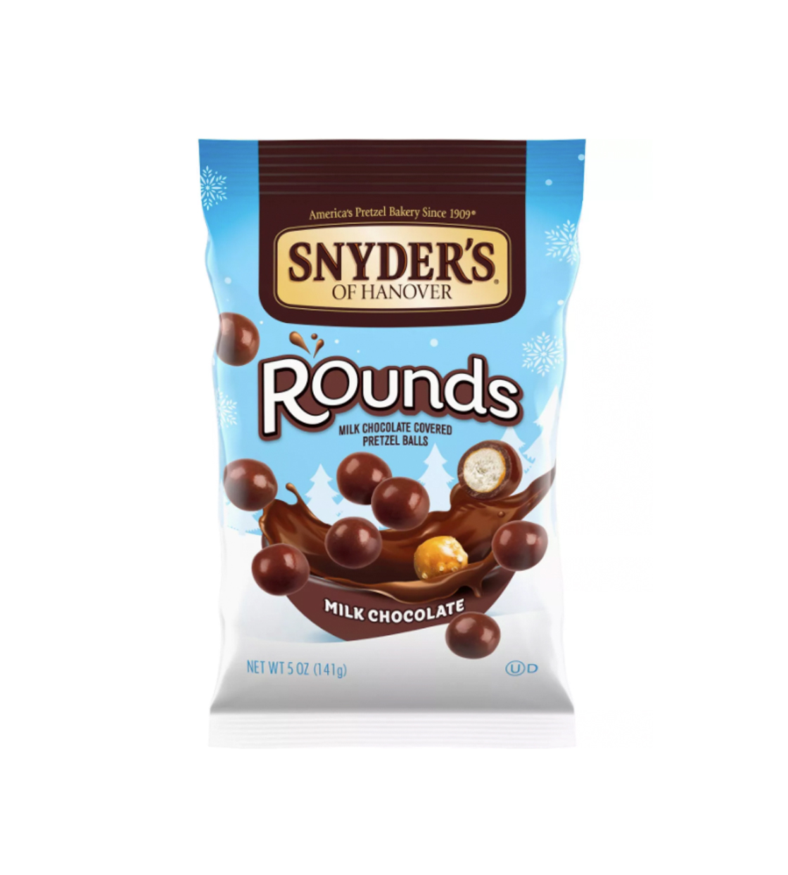 A bag of Snyder's Rounds milk chocolate pretzel balls on a white background