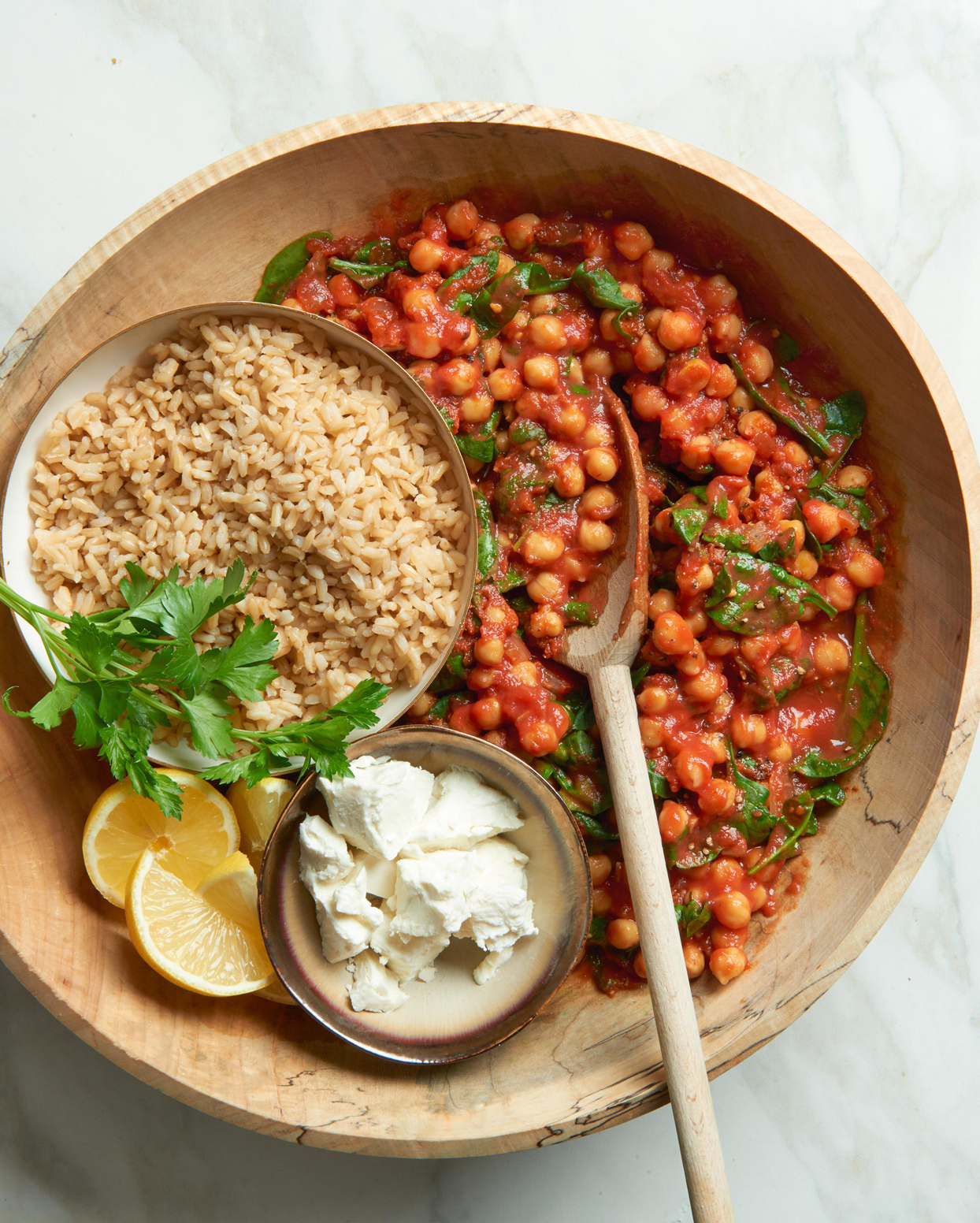 Pressure Cooker Spanish Chickpeas and Tomatoes over Rice