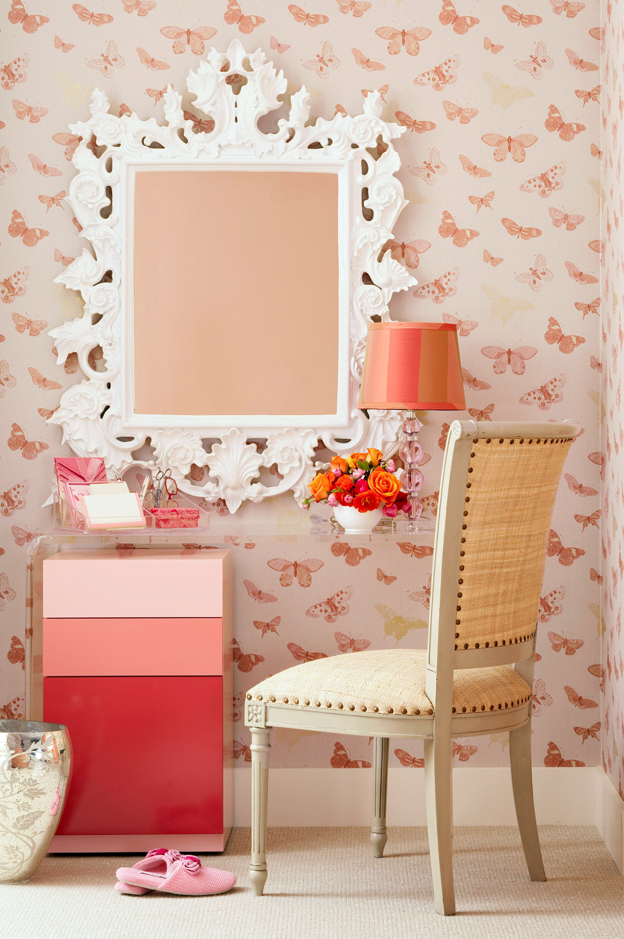 transparent acrylic vanity butterfly wallpaper