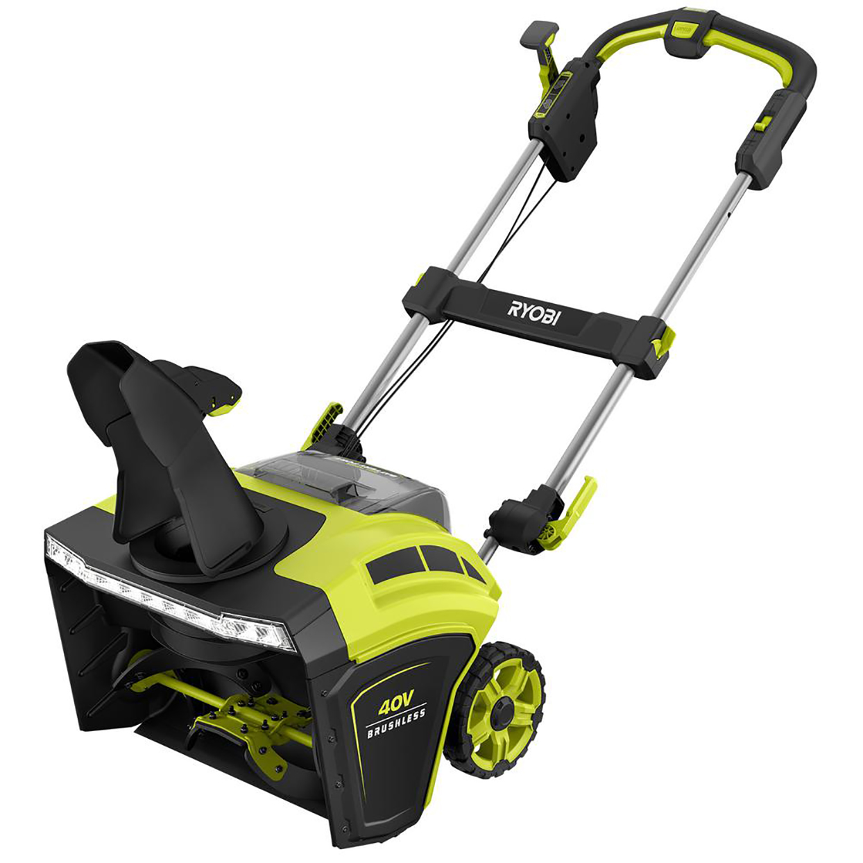 lime green and black snowblower