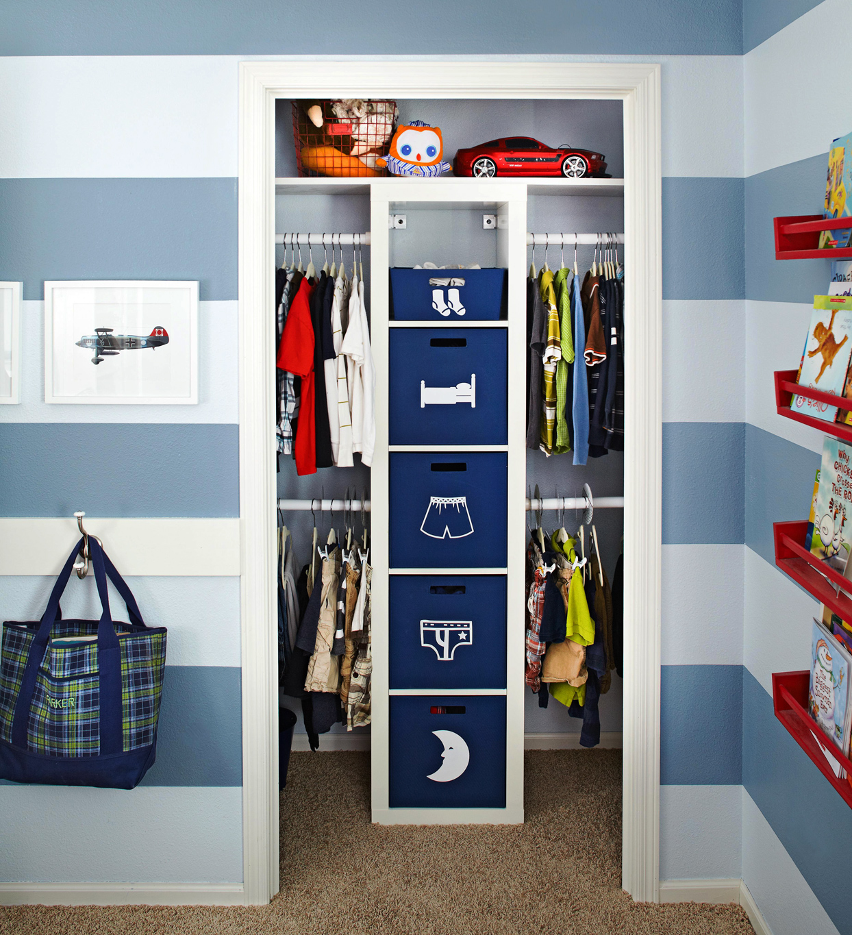 multitiered closet storage system with bins